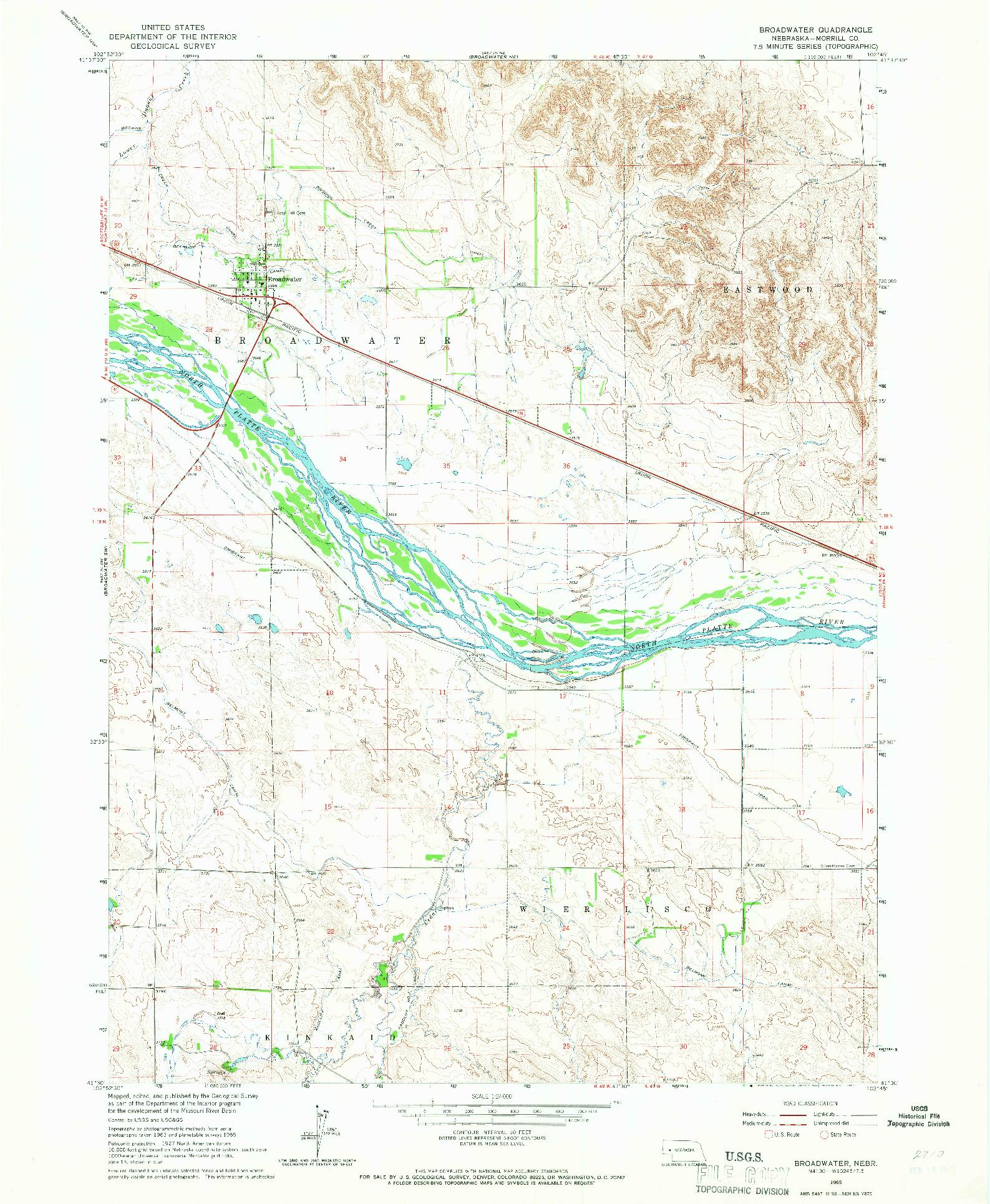 USGS 1:24000-SCALE QUADRANGLE FOR BROADWATER, NE 1965