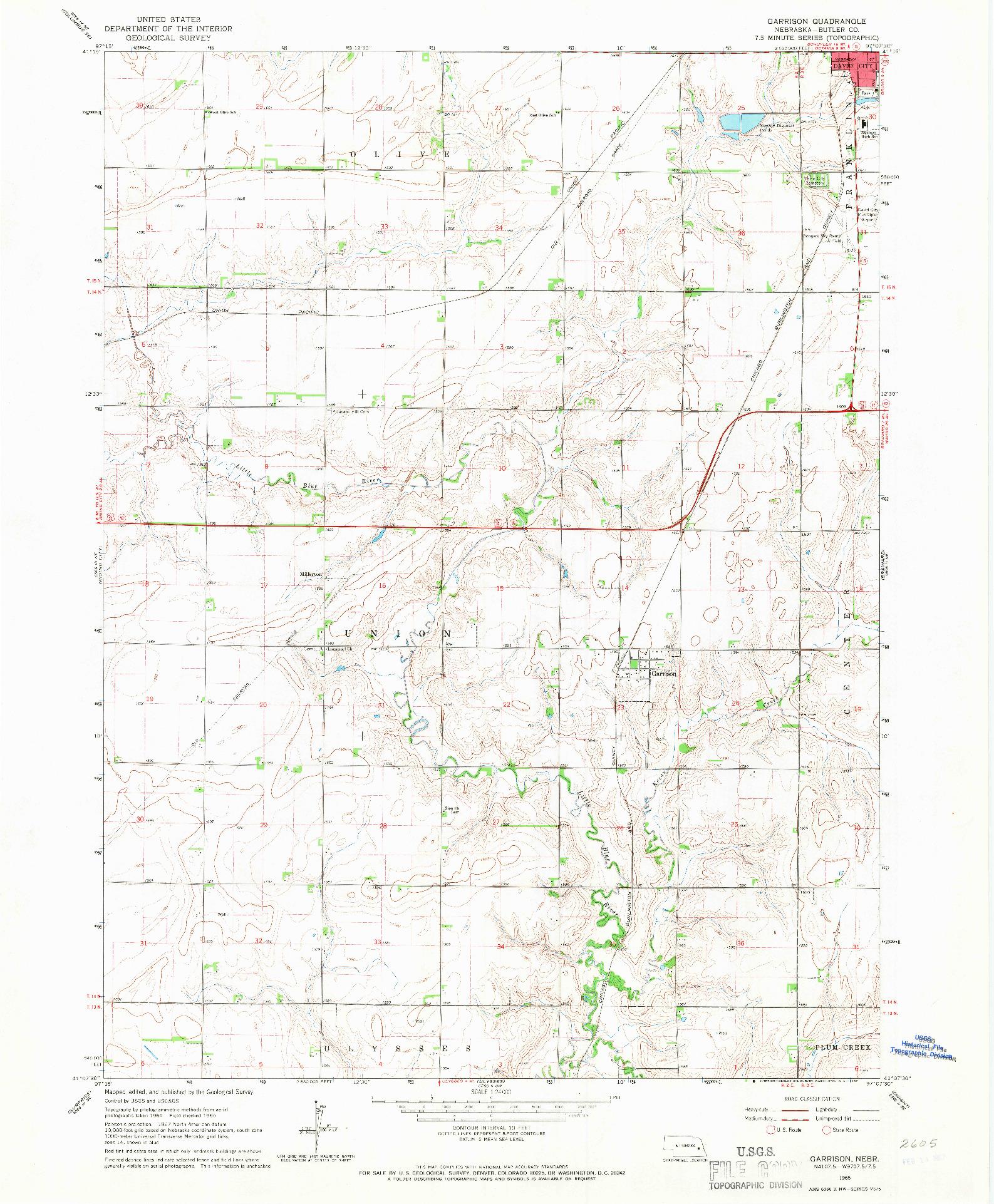USGS 1:24000-SCALE QUADRANGLE FOR GARRISON, NE 1965
