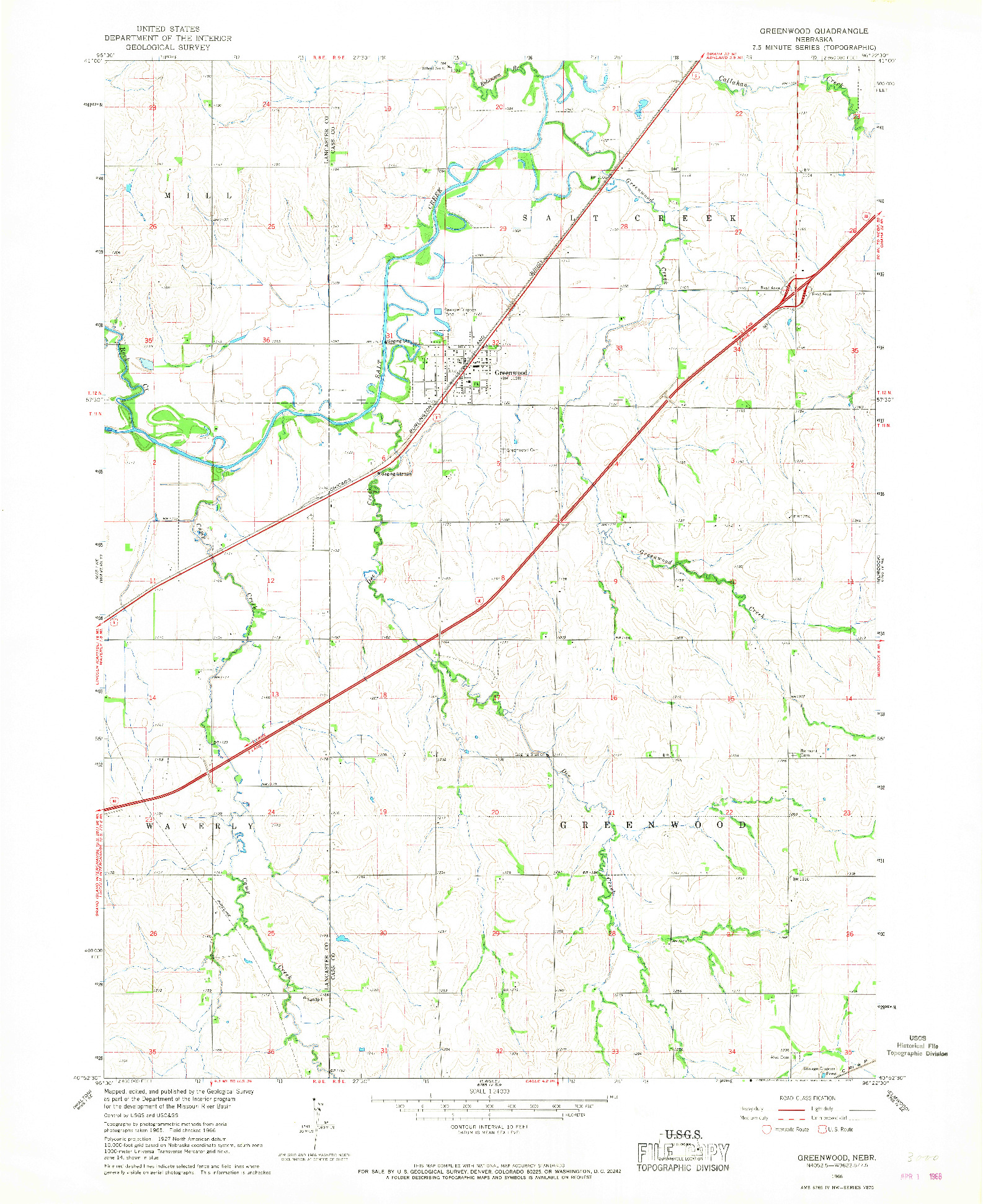 USGS 1:24000-SCALE QUADRANGLE FOR GREENWOOD, NE 1966