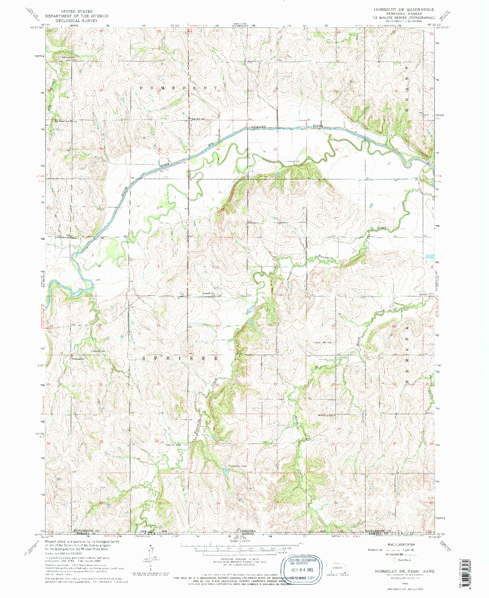 USGS 1:24000-SCALE QUADRANGLE FOR HUMBOLDT SW, NE 1965