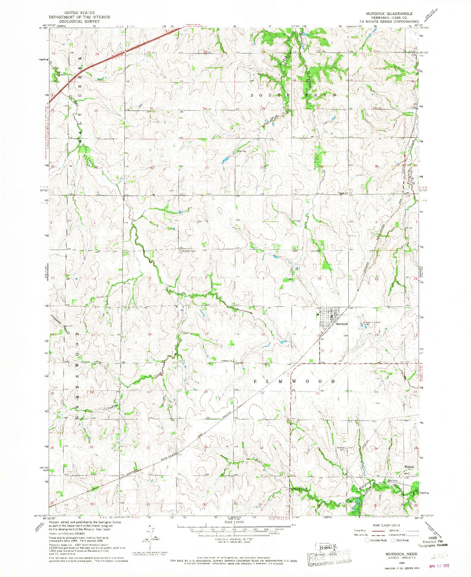 USGS 1:24000-SCALE QUADRANGLE FOR MURDOCK, NE 1966