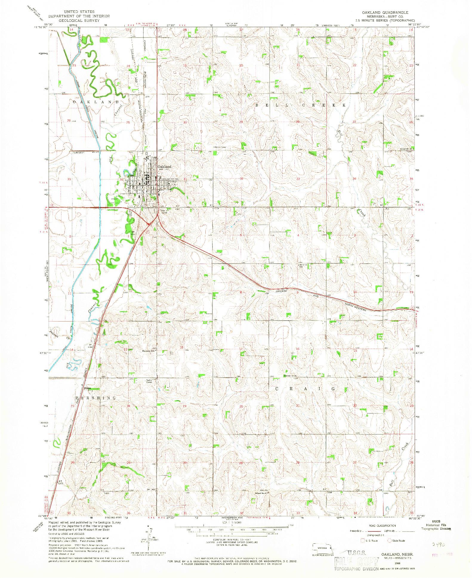 USGS 1:24000-SCALE QUADRANGLE FOR OAKLAND, NE 1966