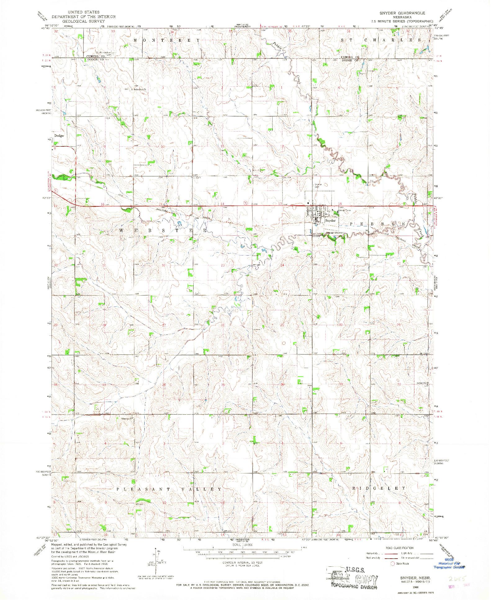 USGS 1:24000-SCALE QUADRANGLE FOR SNYDER, NE 1966