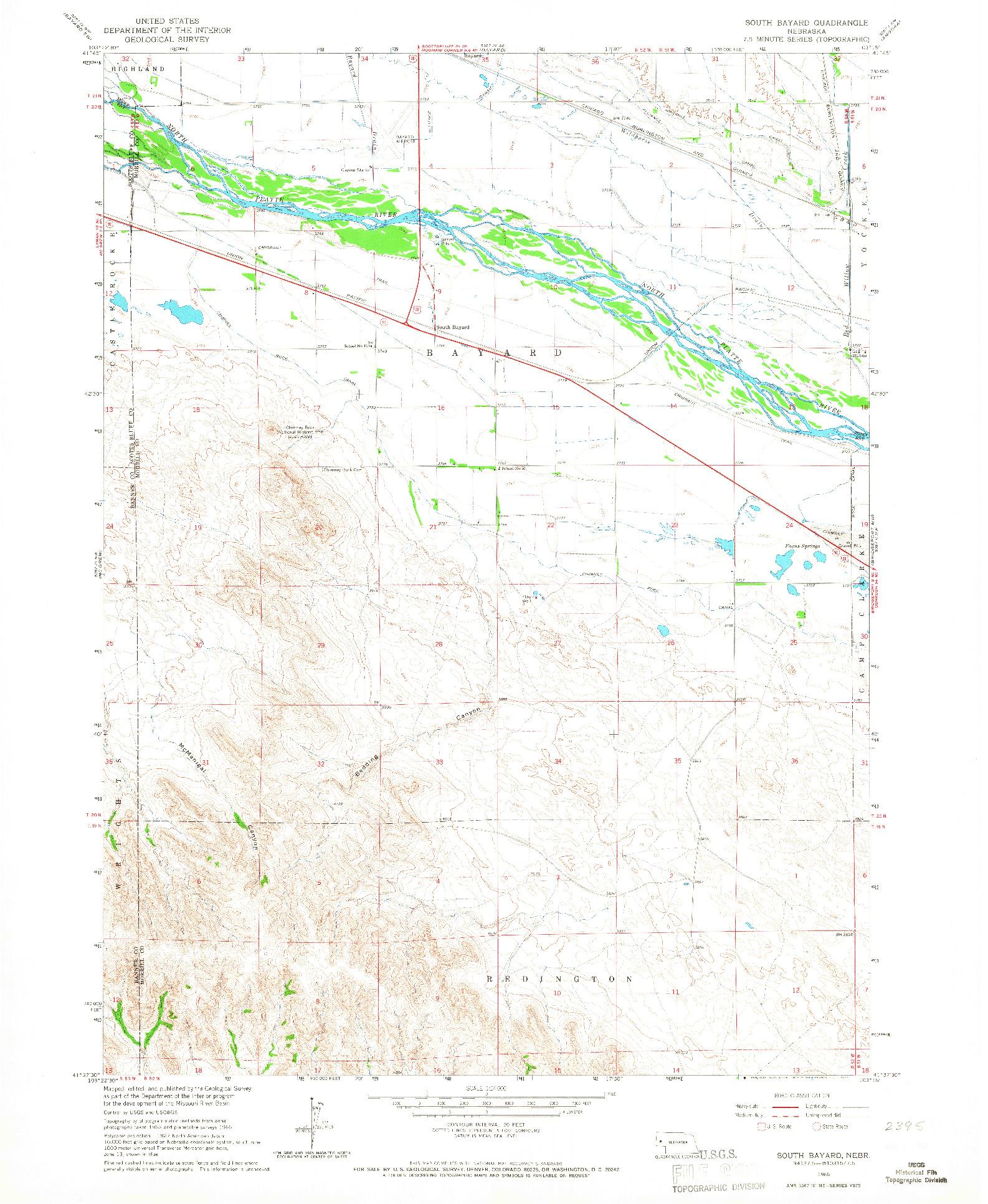 USGS 1:24000-SCALE QUADRANGLE FOR SOUTH BAYARD, NE 1965