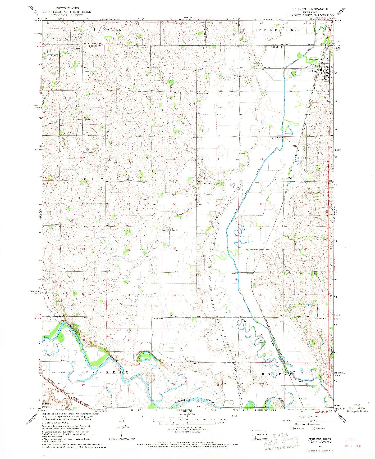 USGS 1:24000-SCALE QUADRANGLE FOR UEHLING, NE 1966