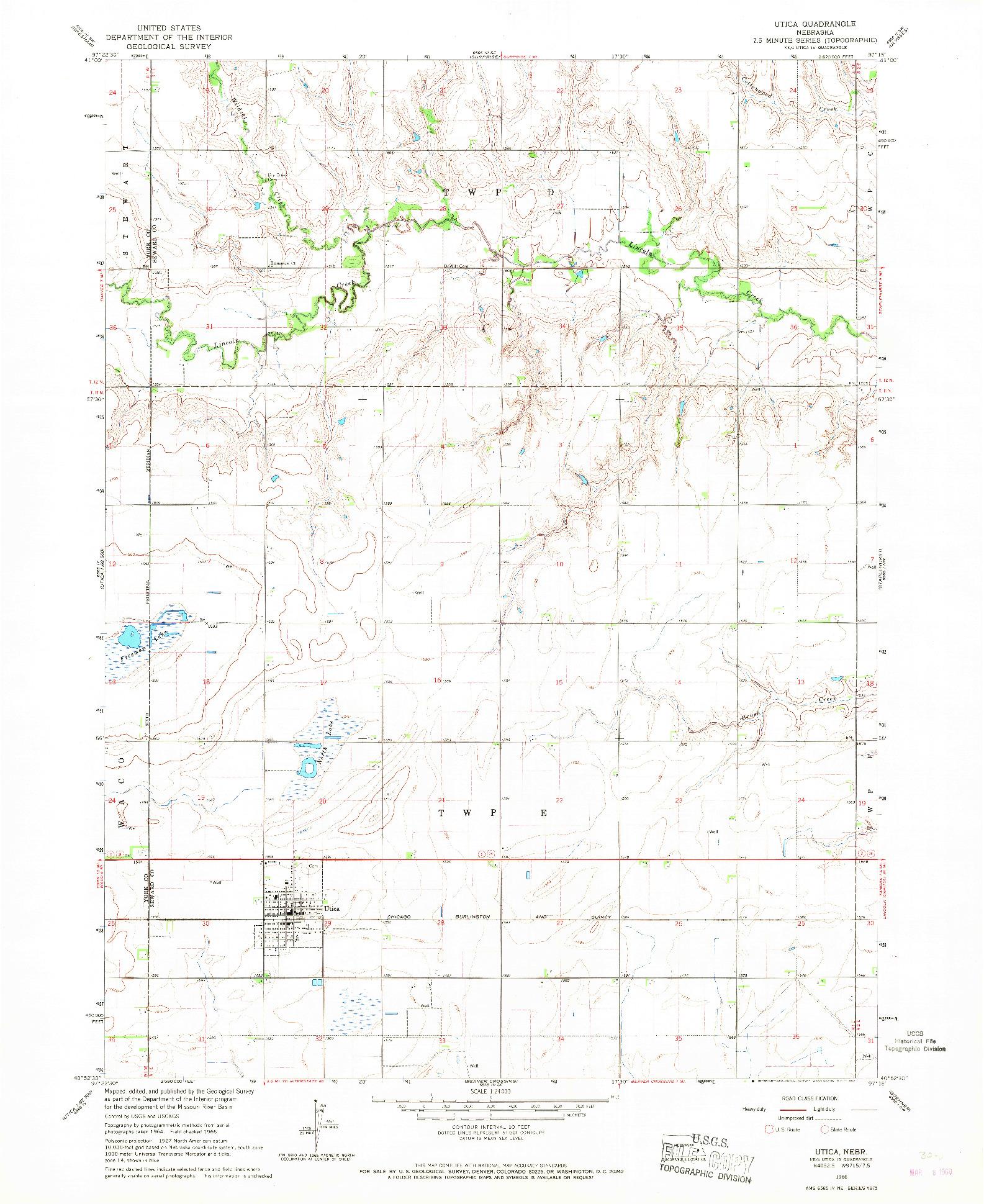 USGS 1:24000-SCALE QUADRANGLE FOR UTICA, NE 1966