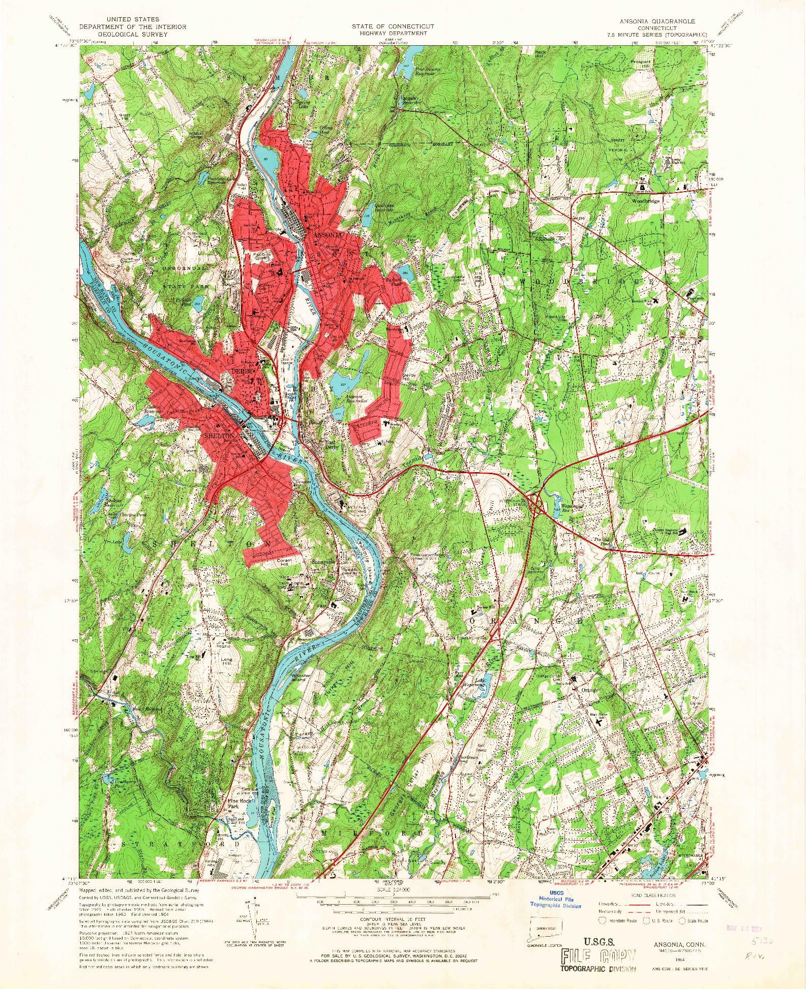 USGS 1:24000-SCALE QUADRANGLE FOR ANSONIA, CT 1964