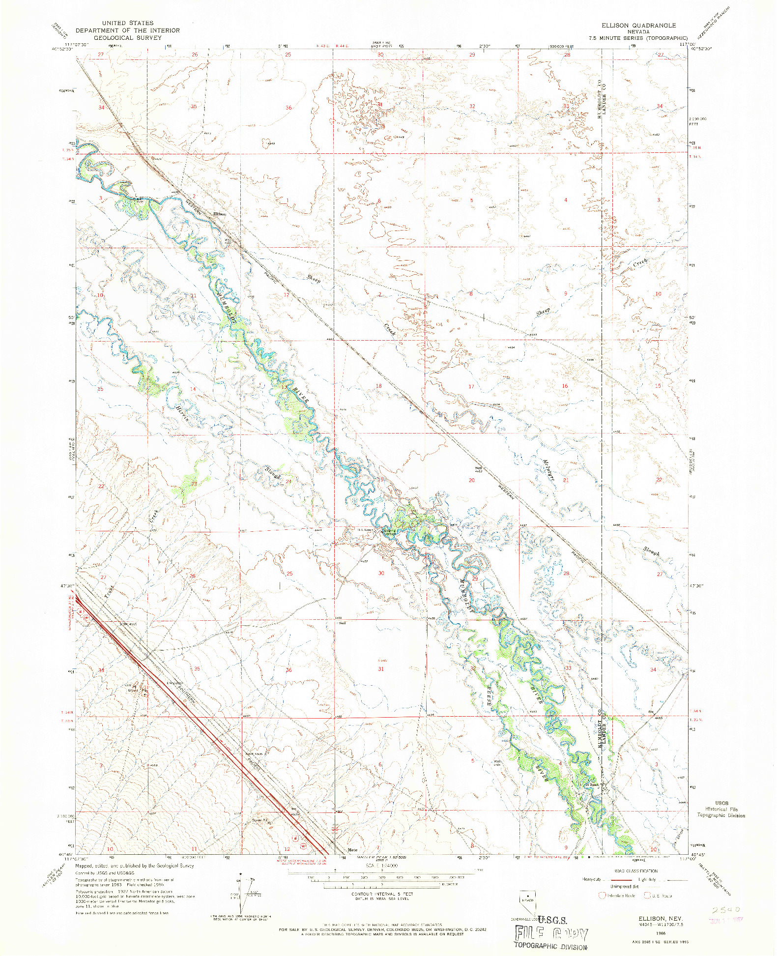 USGS 1:24000-SCALE QUADRANGLE FOR ELLISON, NV 1966