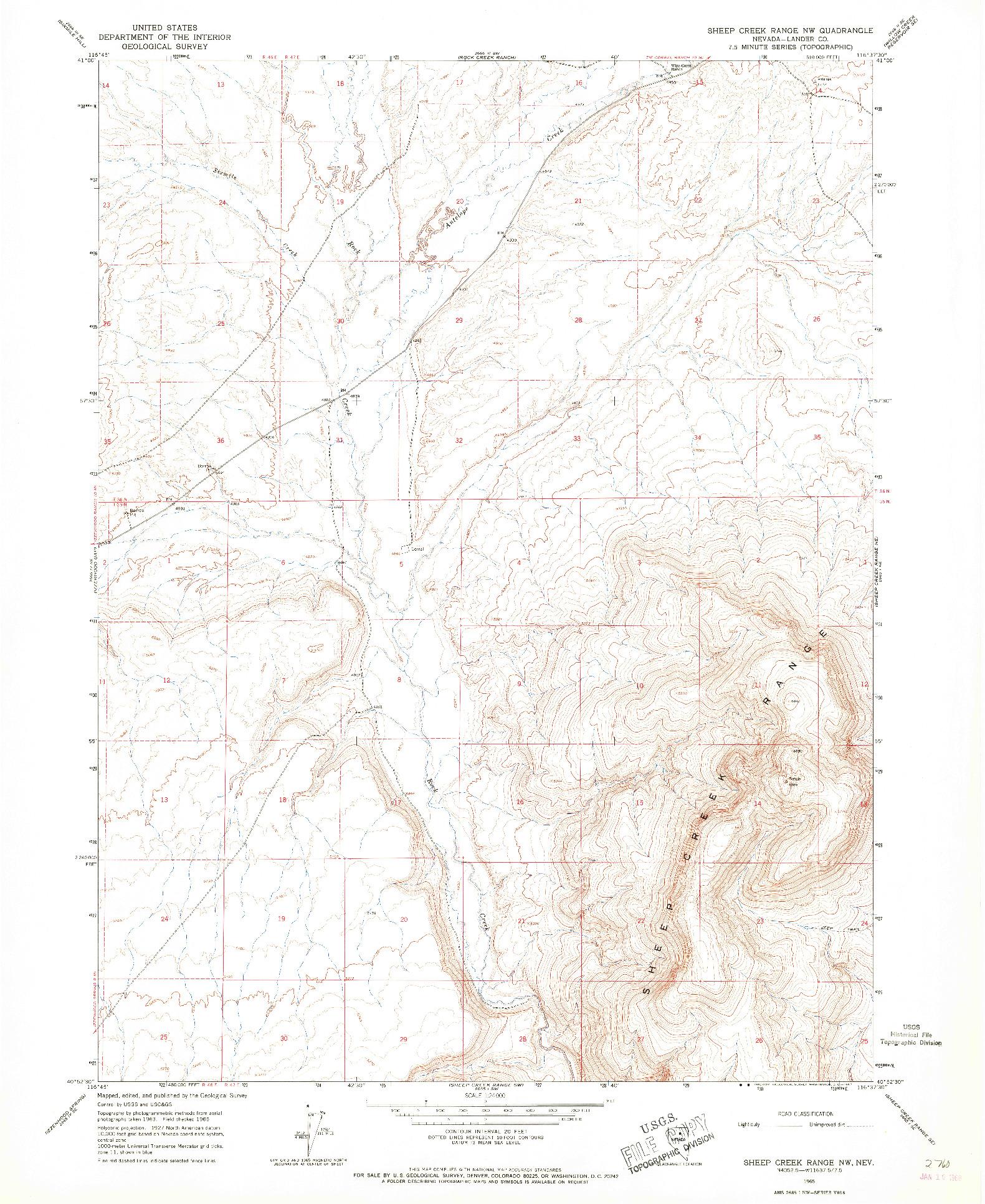 USGS 1:24000-SCALE QUADRANGLE FOR SHEEP CREEK RANGE NW, NV 1965