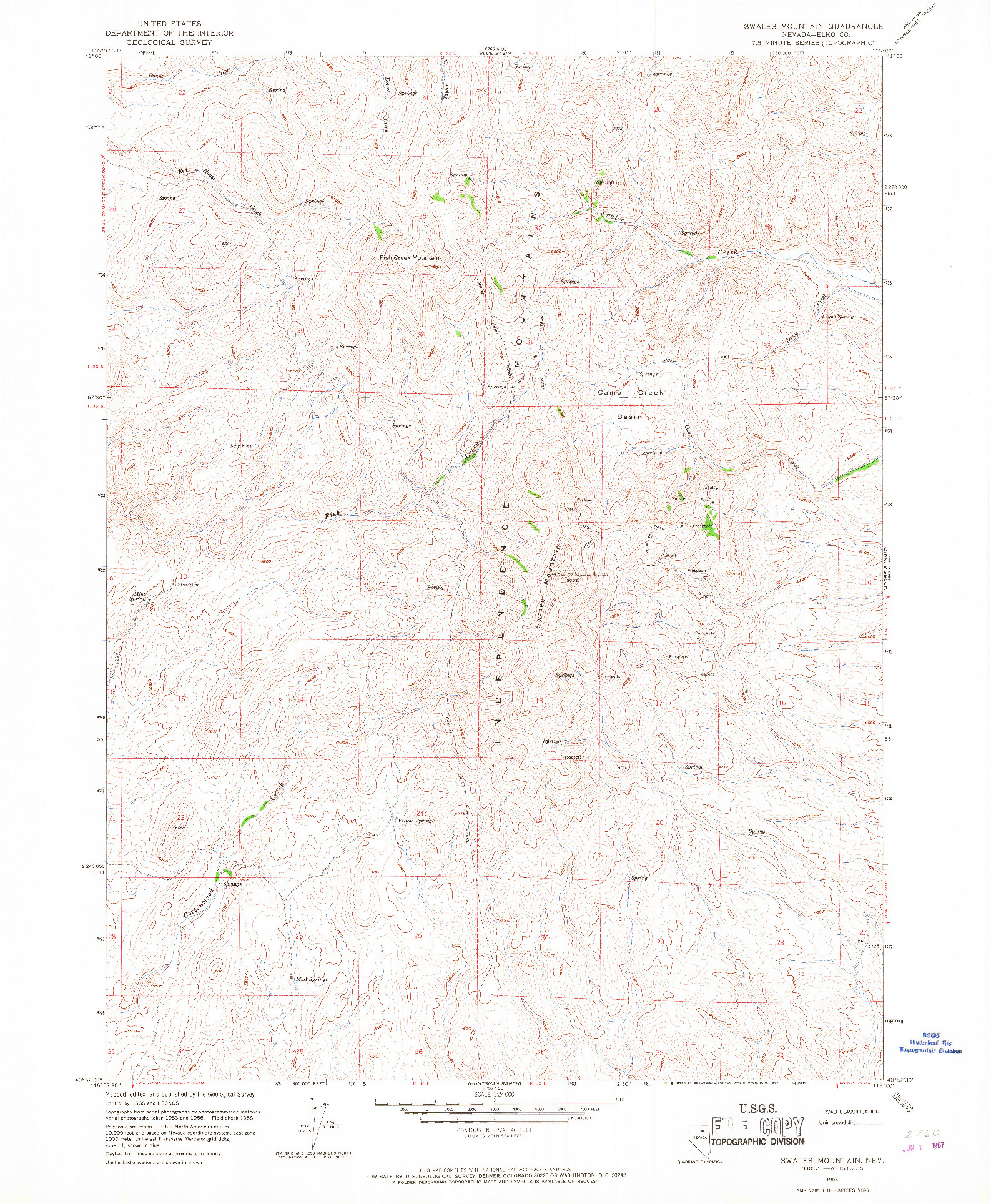 USGS 1:24000-SCALE QUADRANGLE FOR SWALES MOUNTAIN, NV 1958