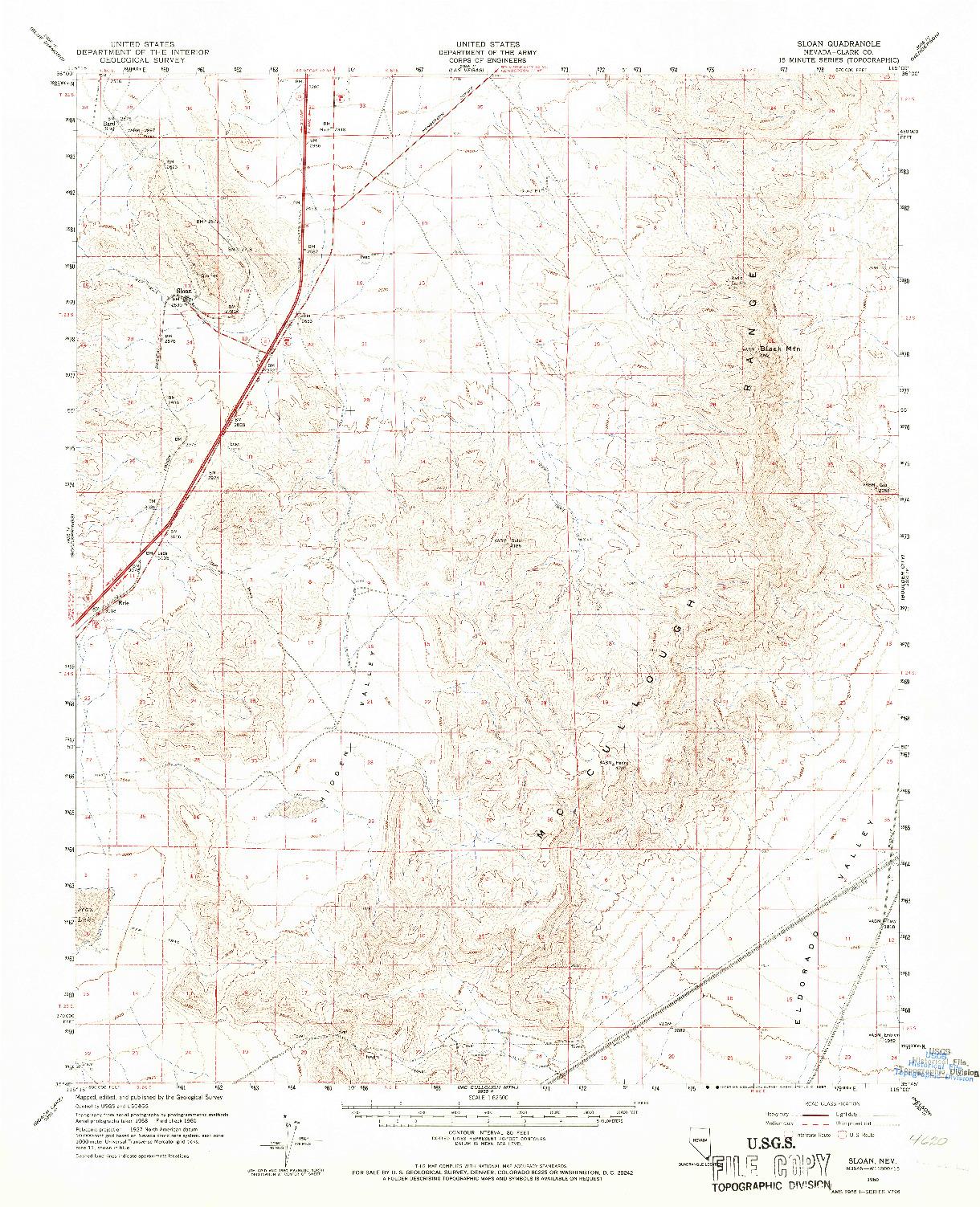USGS 1:62500-SCALE QUADRANGLE FOR SLOAN, NV 1960