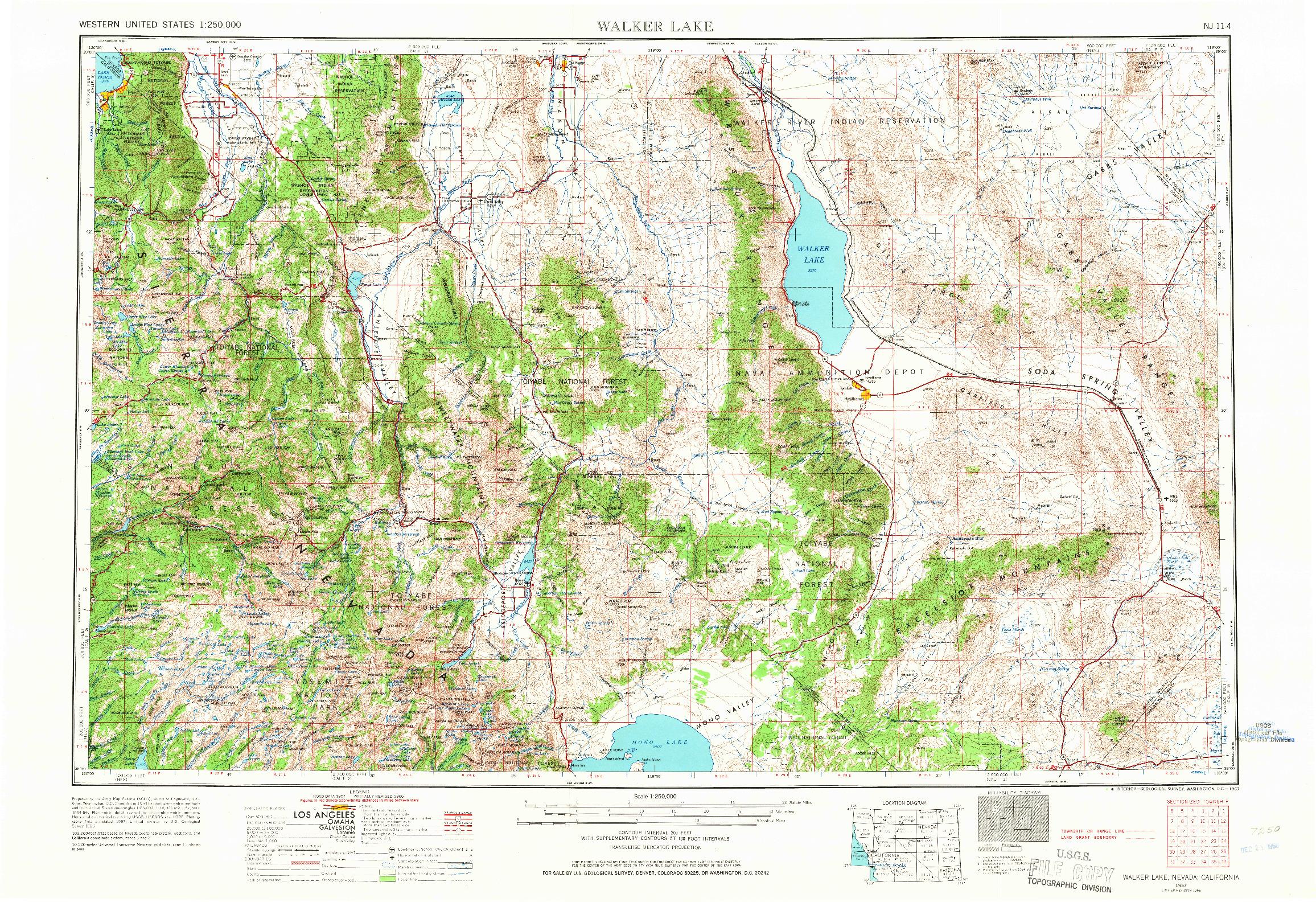 USGS 1:250000-SCALE QUADRANGLE FOR WALKER LAKE, NV 1957