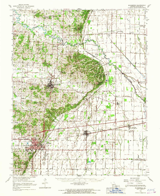 USGS 1:62500-SCALE QUADRANGLE FOR BLOOMFIELD, MO 1963