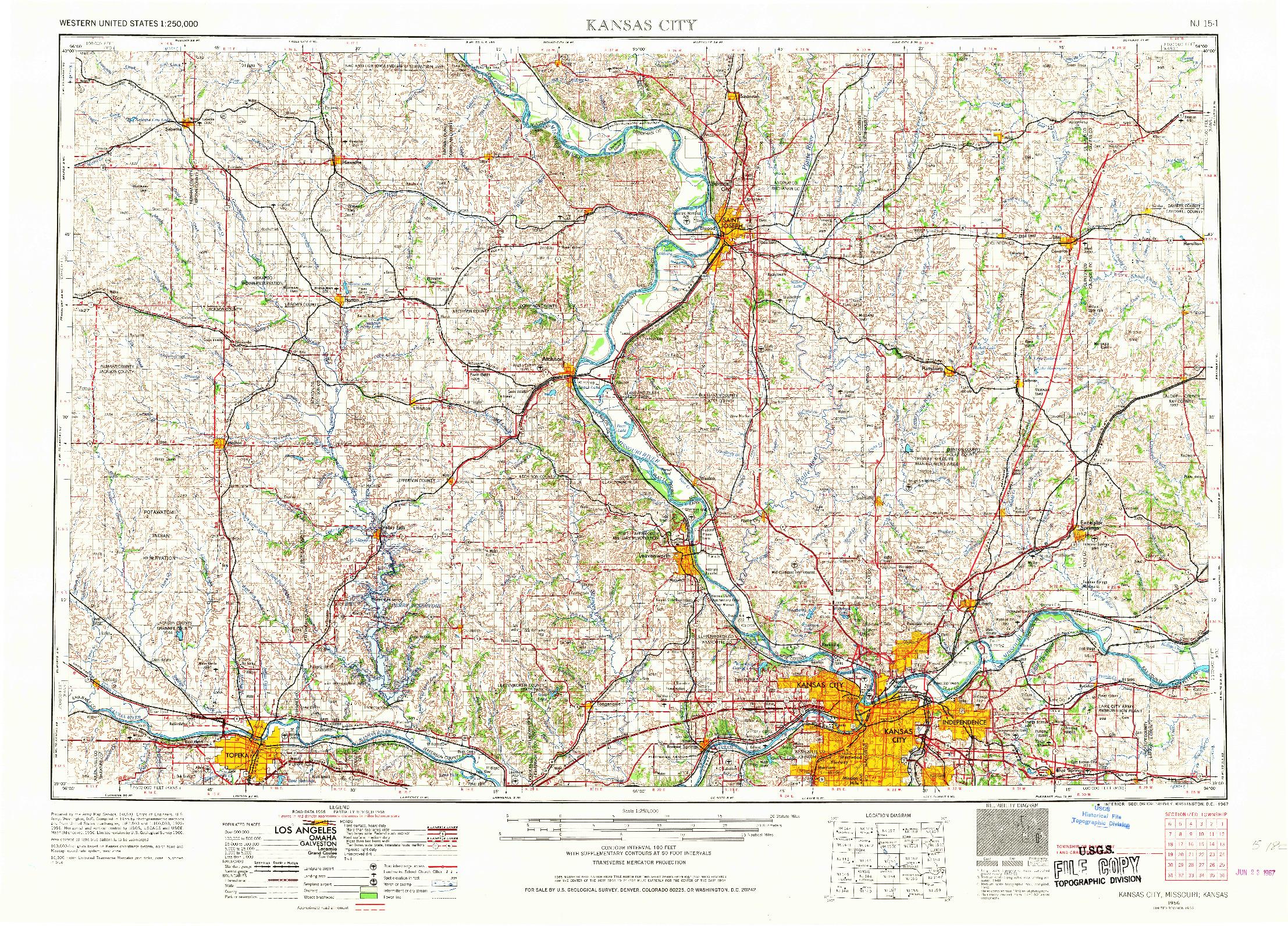 USGS 1:250000-SCALE QUADRANGLE FOR KANSAS CITY, MO 1956
