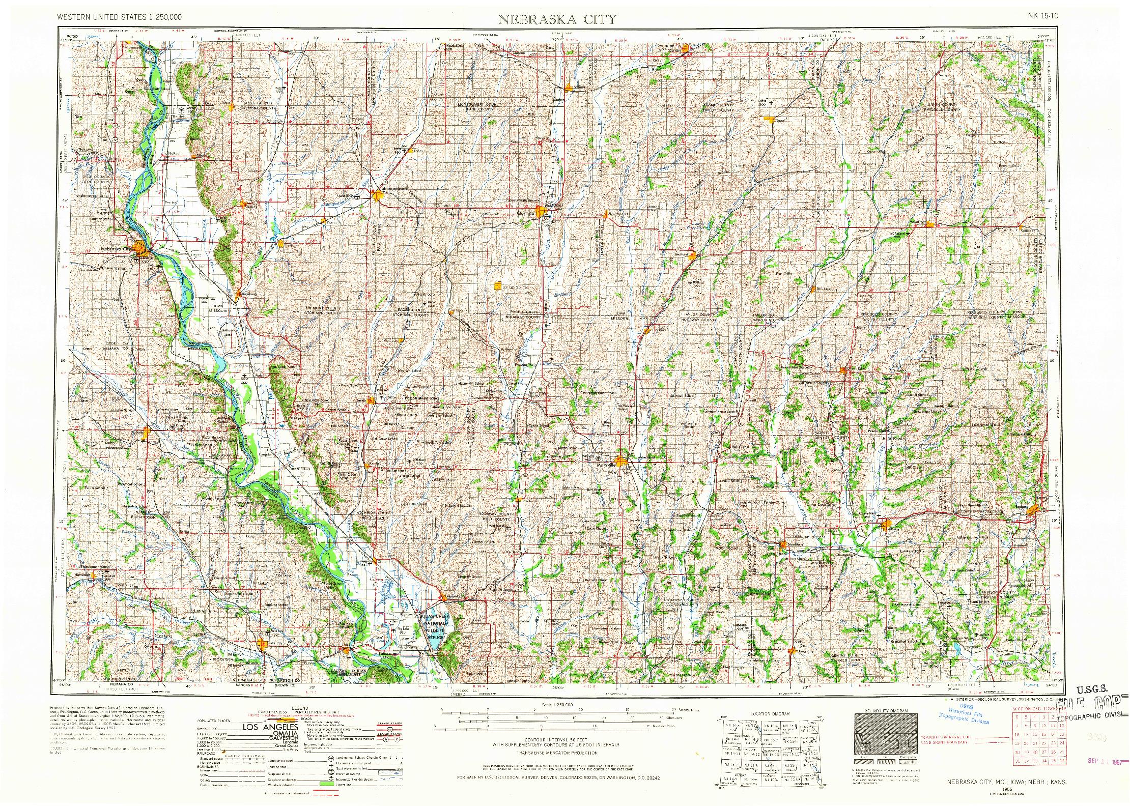 USGS 1:250000-SCALE QUADRANGLE FOR NEBRASKA CITY, MO 1955