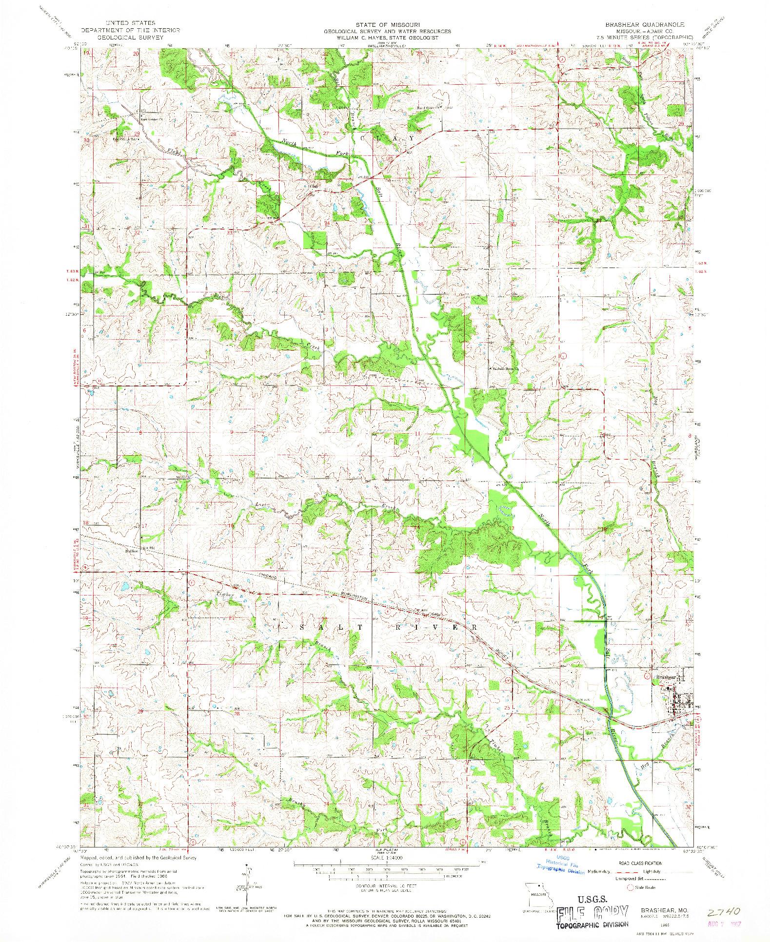 USGS 1:24000-SCALE QUADRANGLE FOR BRASHEAR, MO 1966