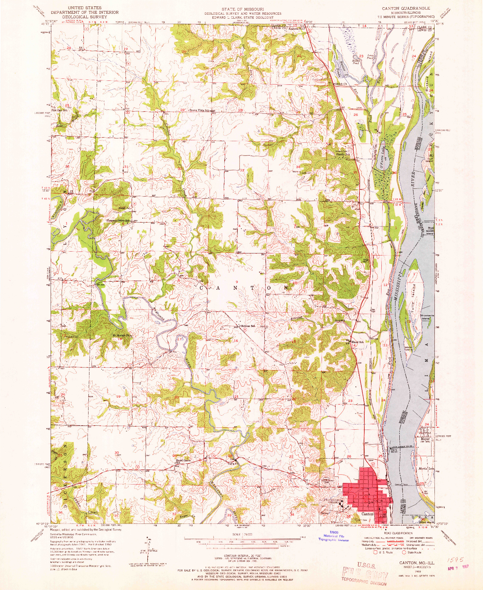 USGS 1:24000-SCALE QUADRANGLE FOR CANTON, MO 1950
