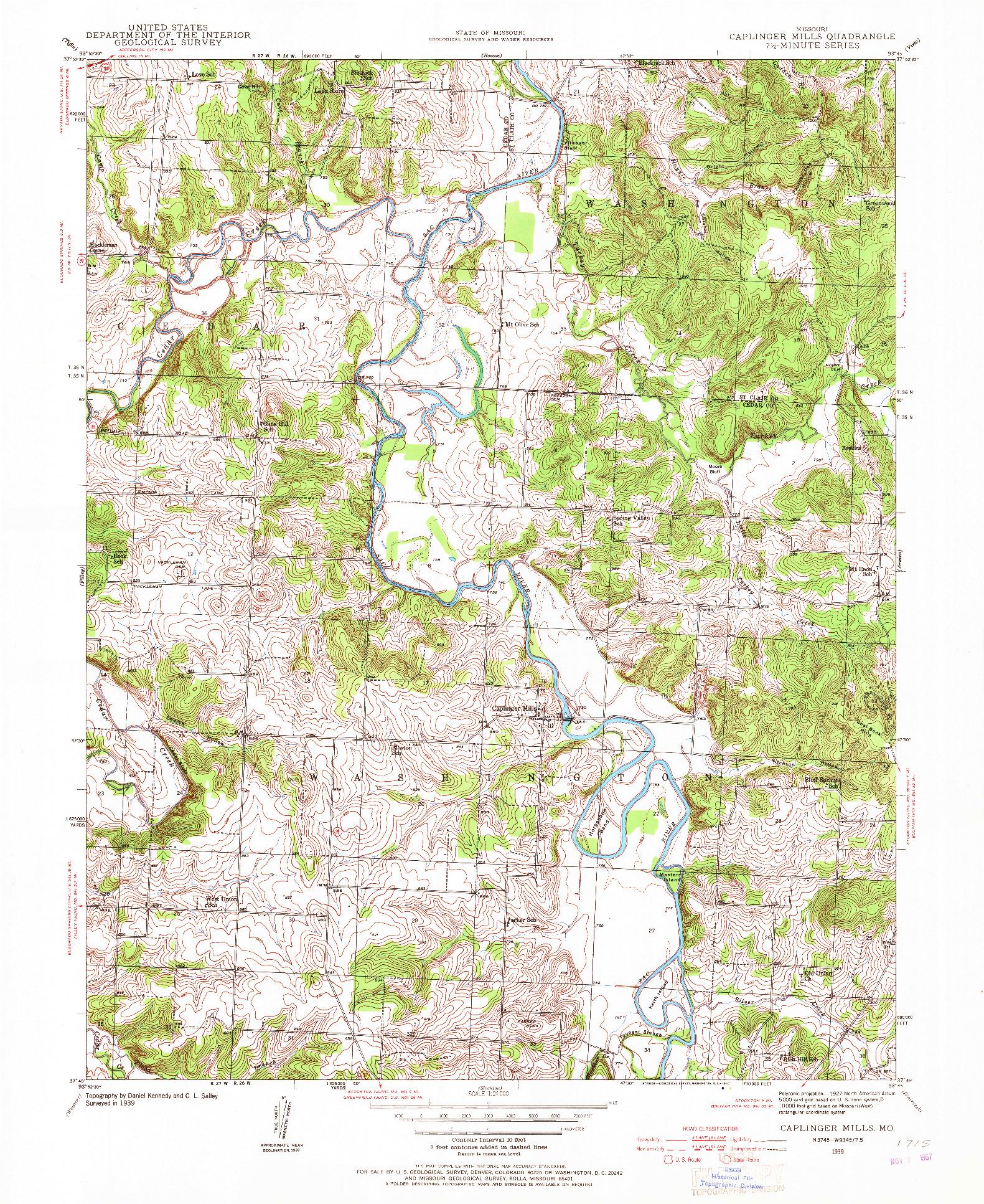 USGS 1:24000-SCALE QUADRANGLE FOR CAPLINGER MILLS, MO 1939