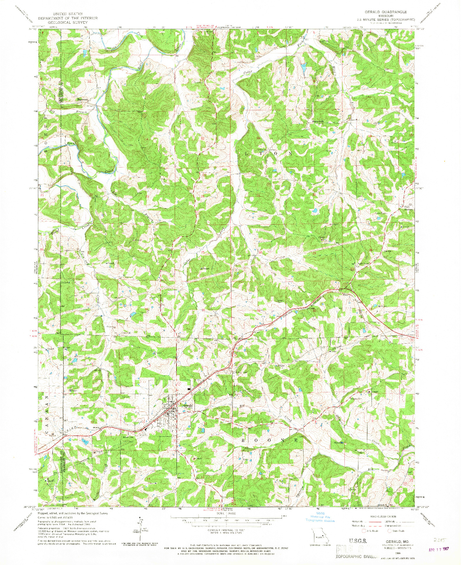 USGS 1:24000-SCALE QUADRANGLE FOR GERALD, MO 1966