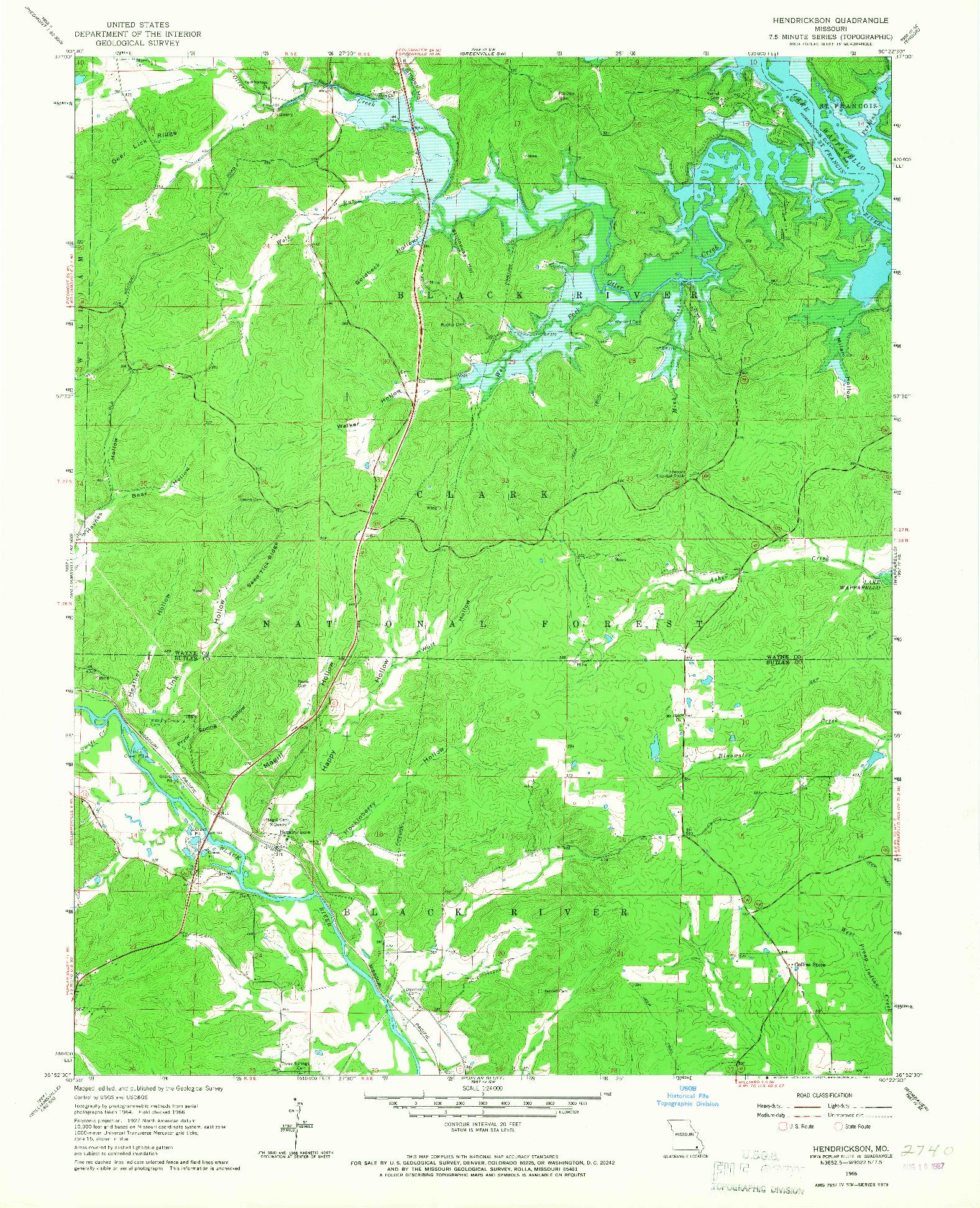 USGS 1:24000-SCALE QUADRANGLE FOR HENDRICKSON, MO 1966