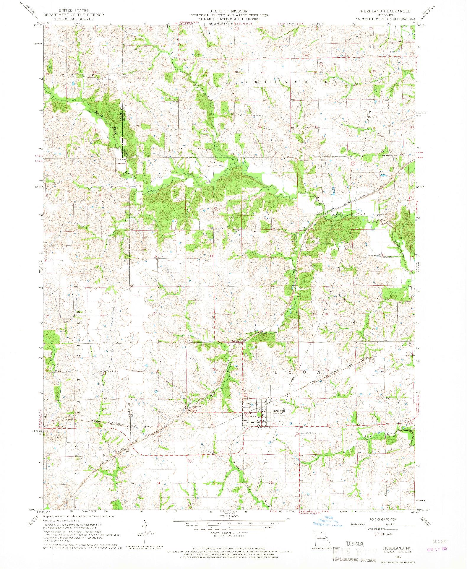 USGS 1:24000-SCALE QUADRANGLE FOR HURDLAND, MO 1966