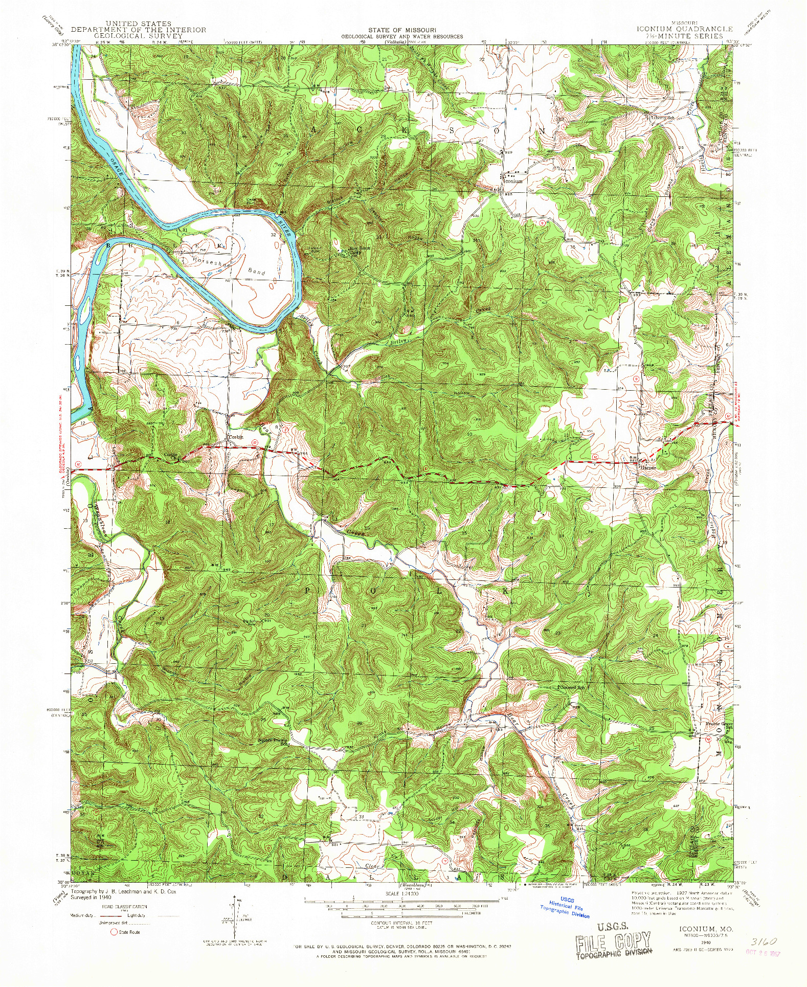 USGS 1:24000-SCALE QUADRANGLE FOR ICONIUM, MO 1940