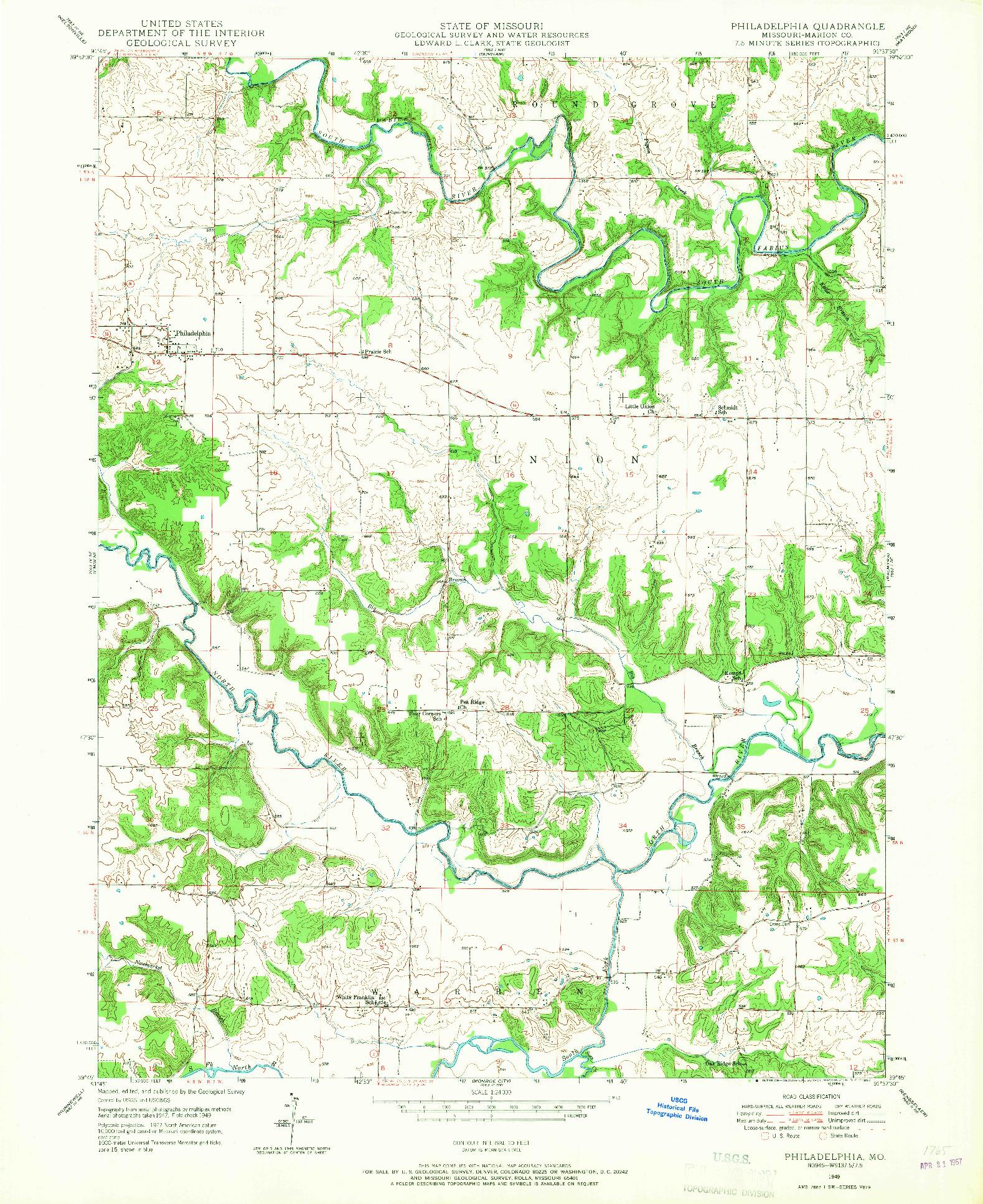 USGS 1:24000-SCALE QUADRANGLE FOR PHILADELPHIA, MO 1949