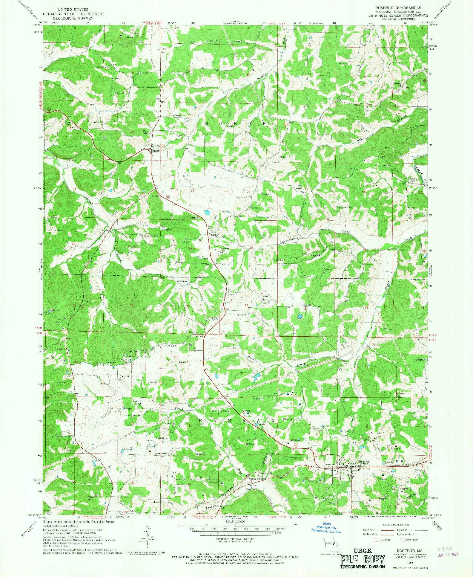 USGS 1:24000-SCALE QUADRANGLE FOR ROSEBUD, MO 1965