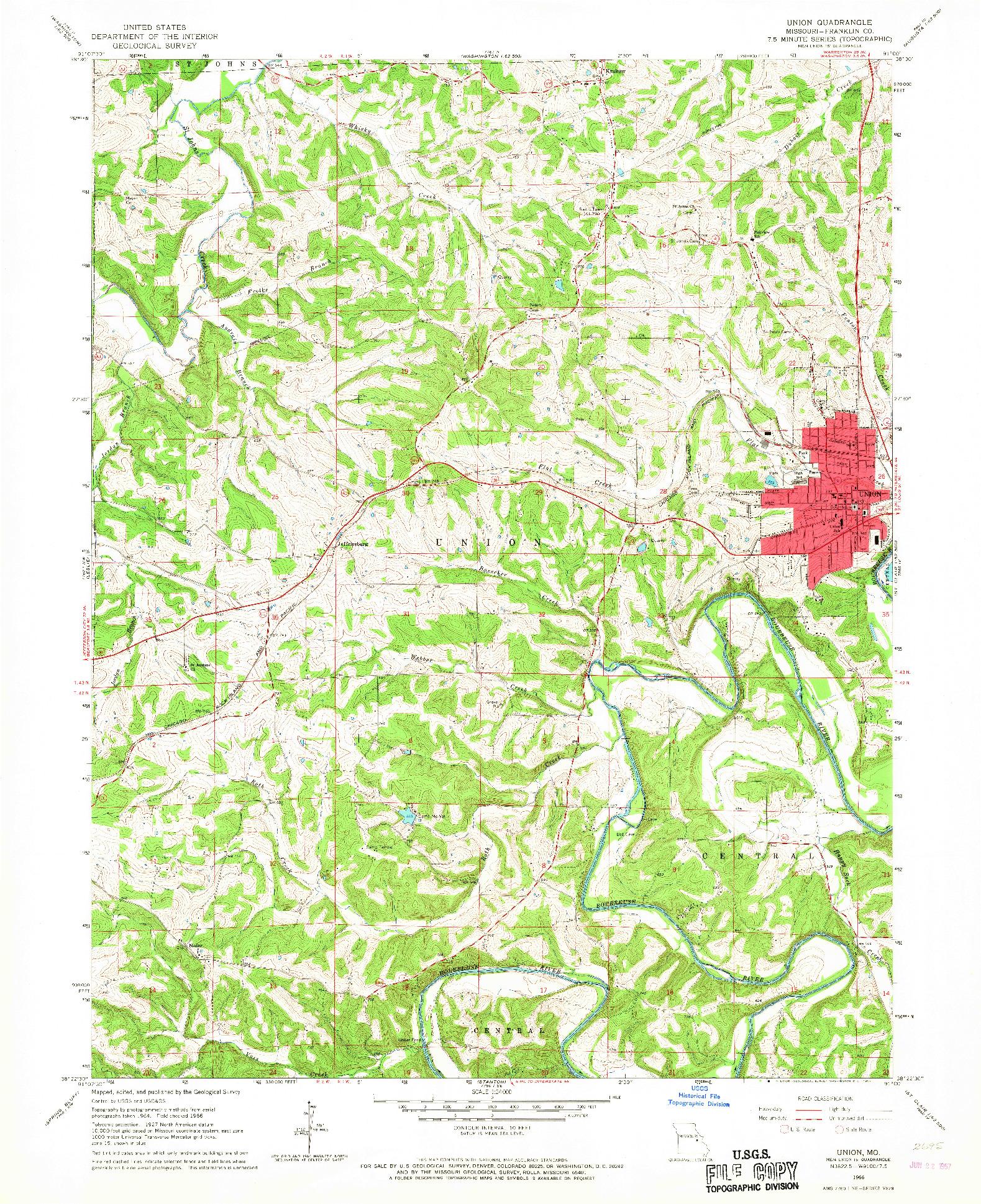 USGS 1:24000-SCALE QUADRANGLE FOR UNION, MO 1966