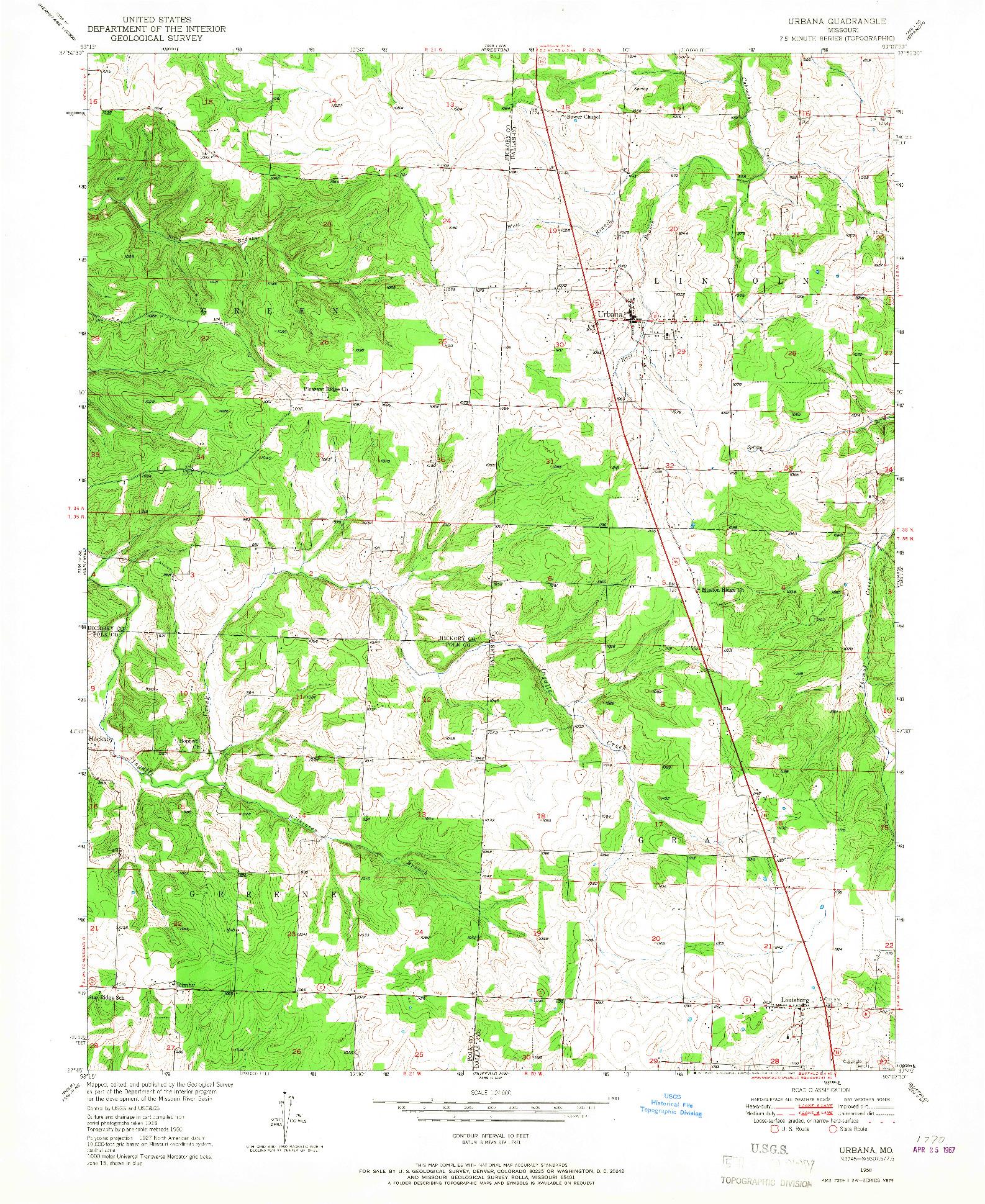 USGS 1:24000-SCALE QUADRANGLE FOR URBANA, MO 1950