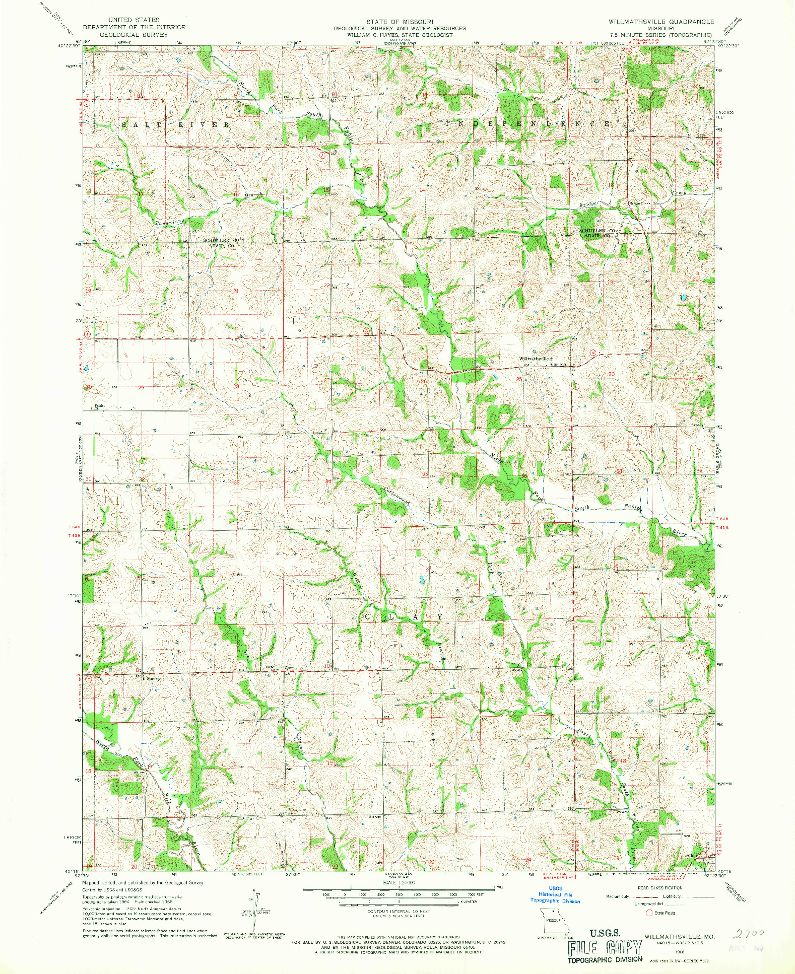 USGS 1:24000-SCALE QUADRANGLE FOR WILLMATHSVILLE, MO 1966