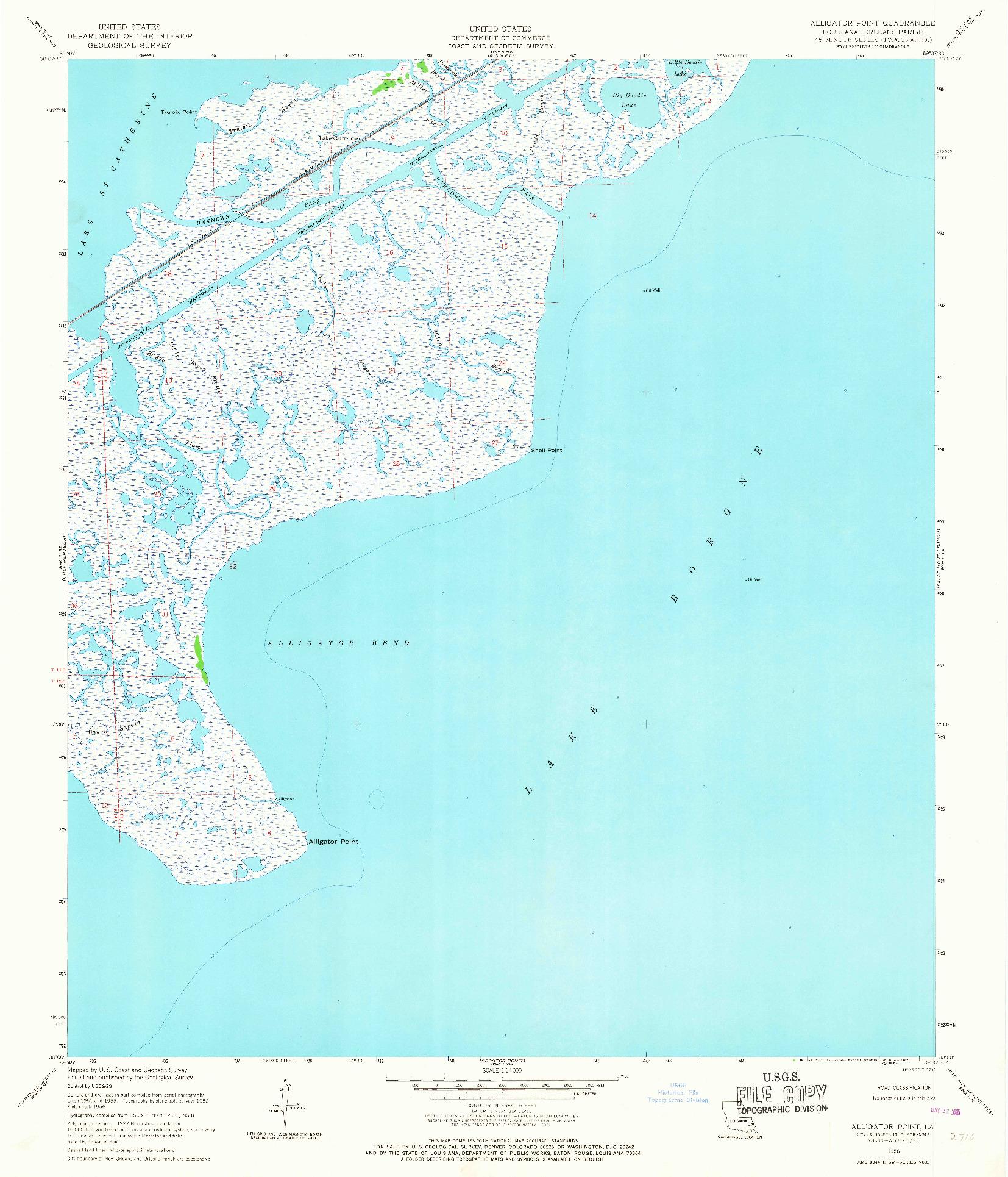 USGS 1:24000-SCALE QUADRANGLE FOR ALLIGATOR POINT, LA 1956