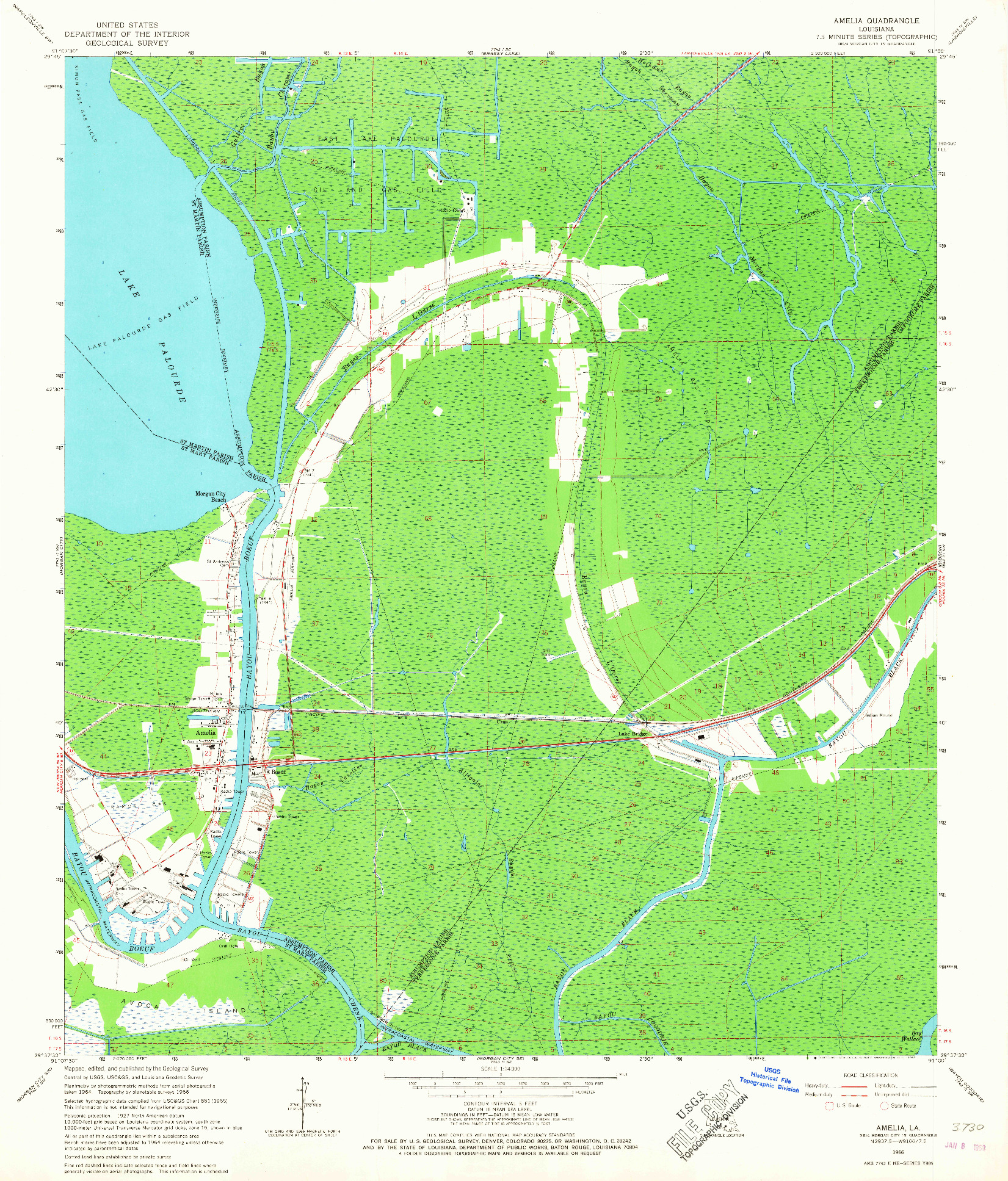 USGS 1:24000-SCALE QUADRANGLE FOR AMELIA, LA 1966