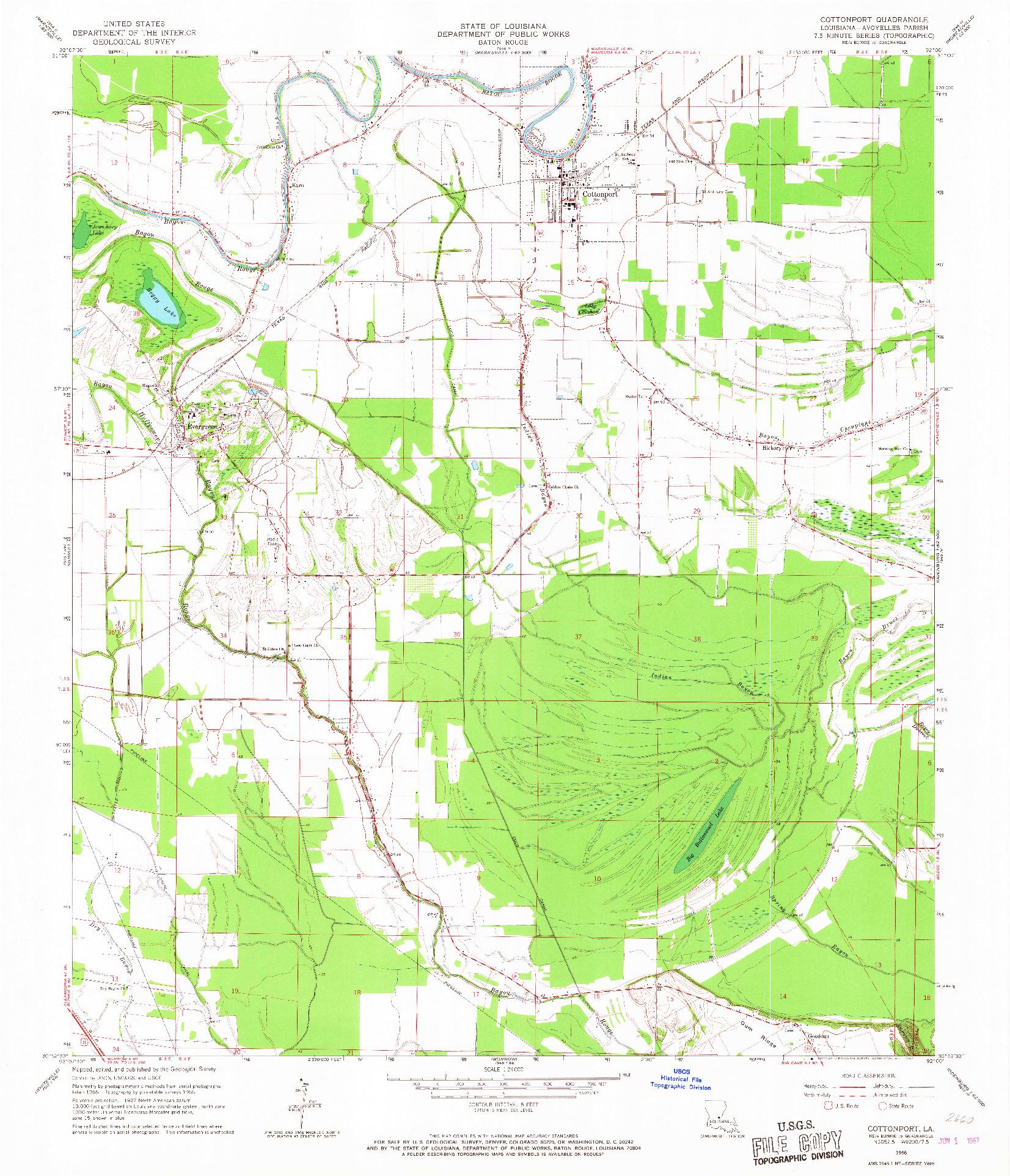 USGS 1:24000-SCALE QUADRANGLE FOR COTTONPORT, LA 1966
