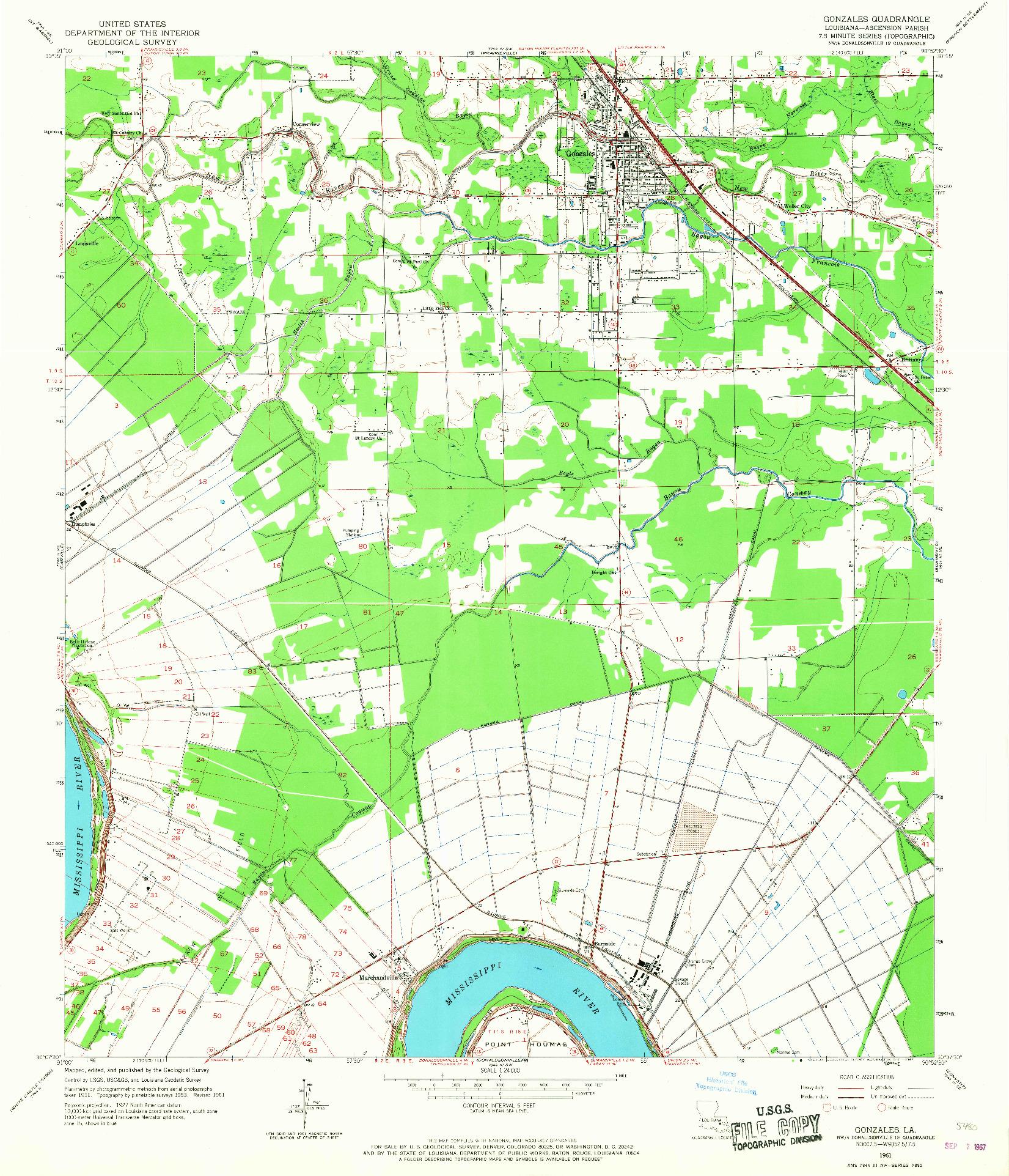 USGS 1:24000-SCALE QUADRANGLE FOR GONZALES, LA 1961