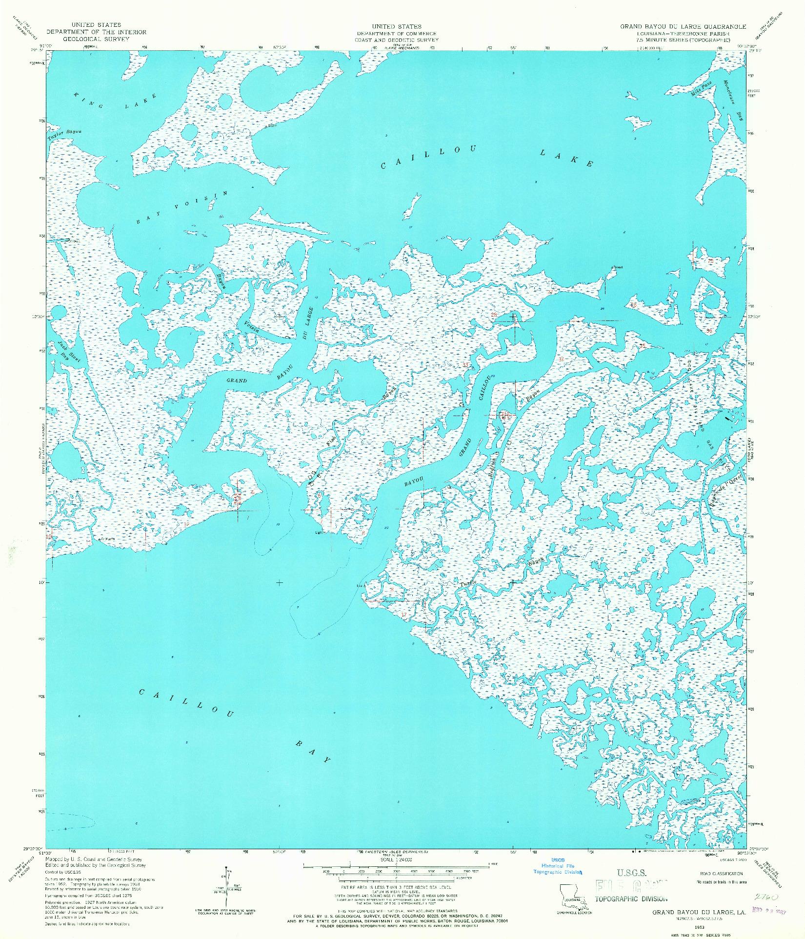 USGS 1:24000-SCALE QUADRANGLE FOR GRAND BAYOU DU LARGE, LA 1953