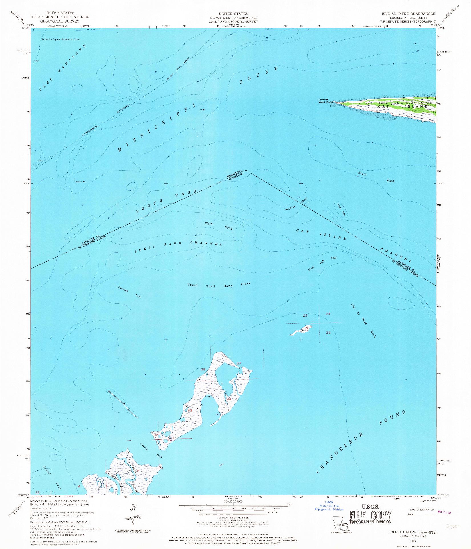USGS 1:24000-SCALE QUADRANGLE FOR ISLE AU PITRE, LA 1955