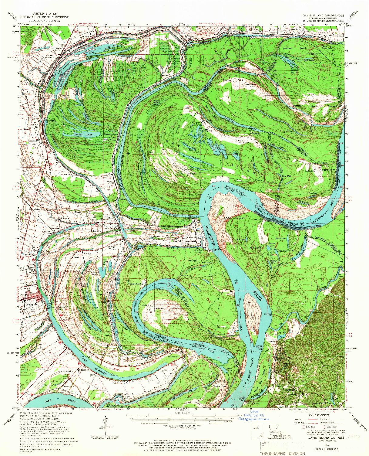 USGS 1:62500-SCALE QUADRANGLE FOR DAVIS ISLAND, LA 1965