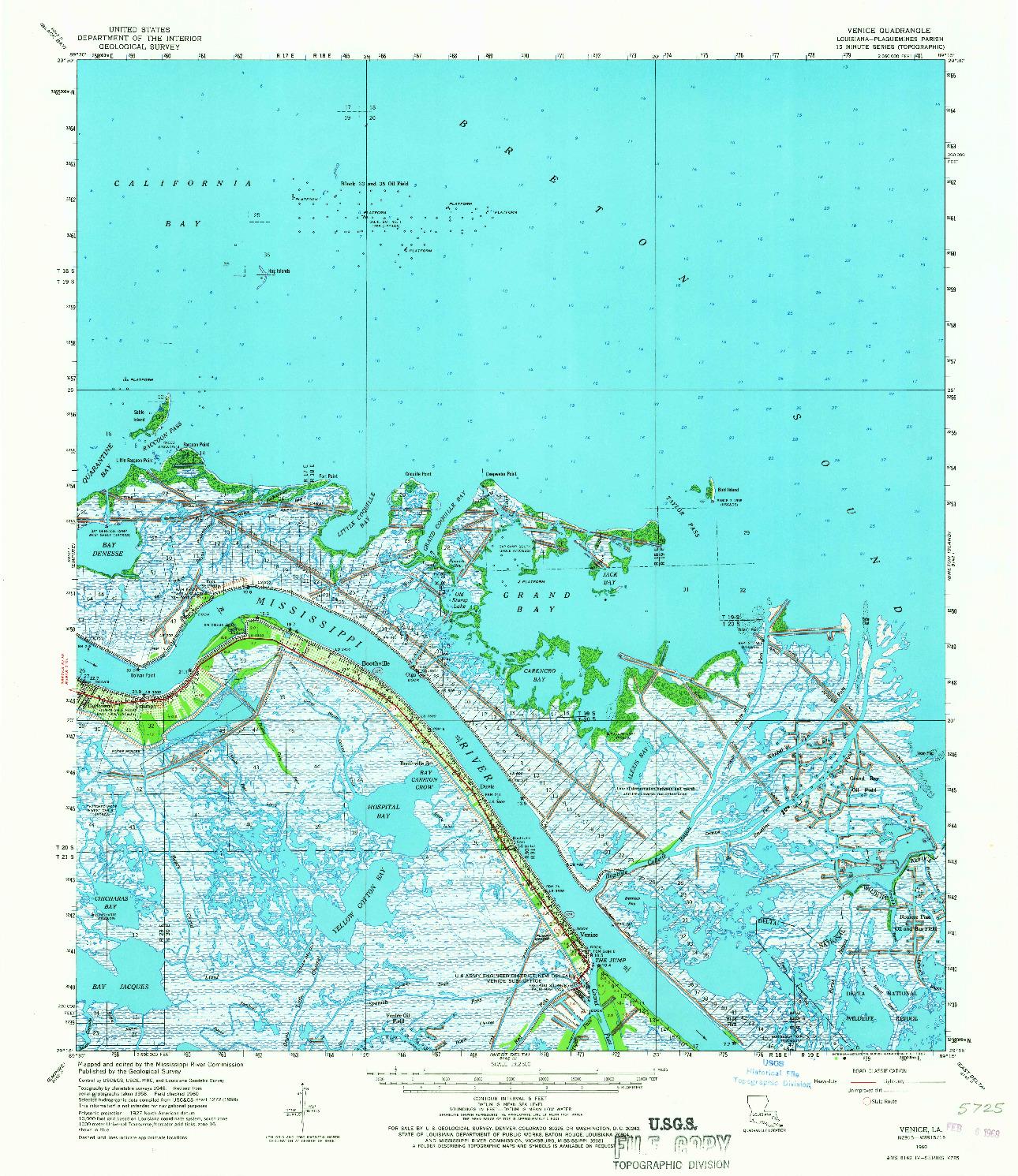 USGS 1:62500-SCALE QUADRANGLE FOR VENICE, LA 1960