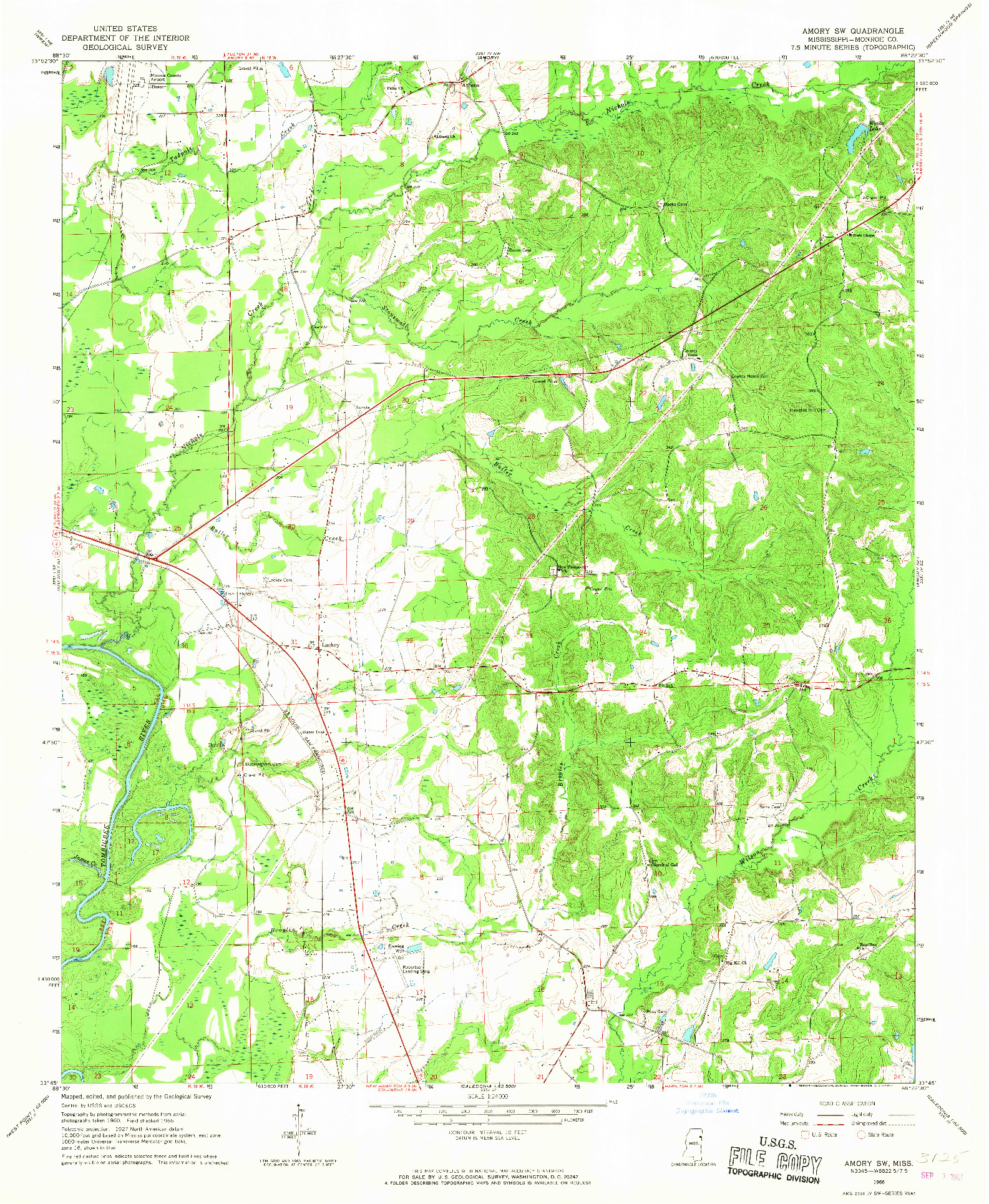 USGS 1:24000-SCALE QUADRANGLE FOR AMORY SW, MS 1966