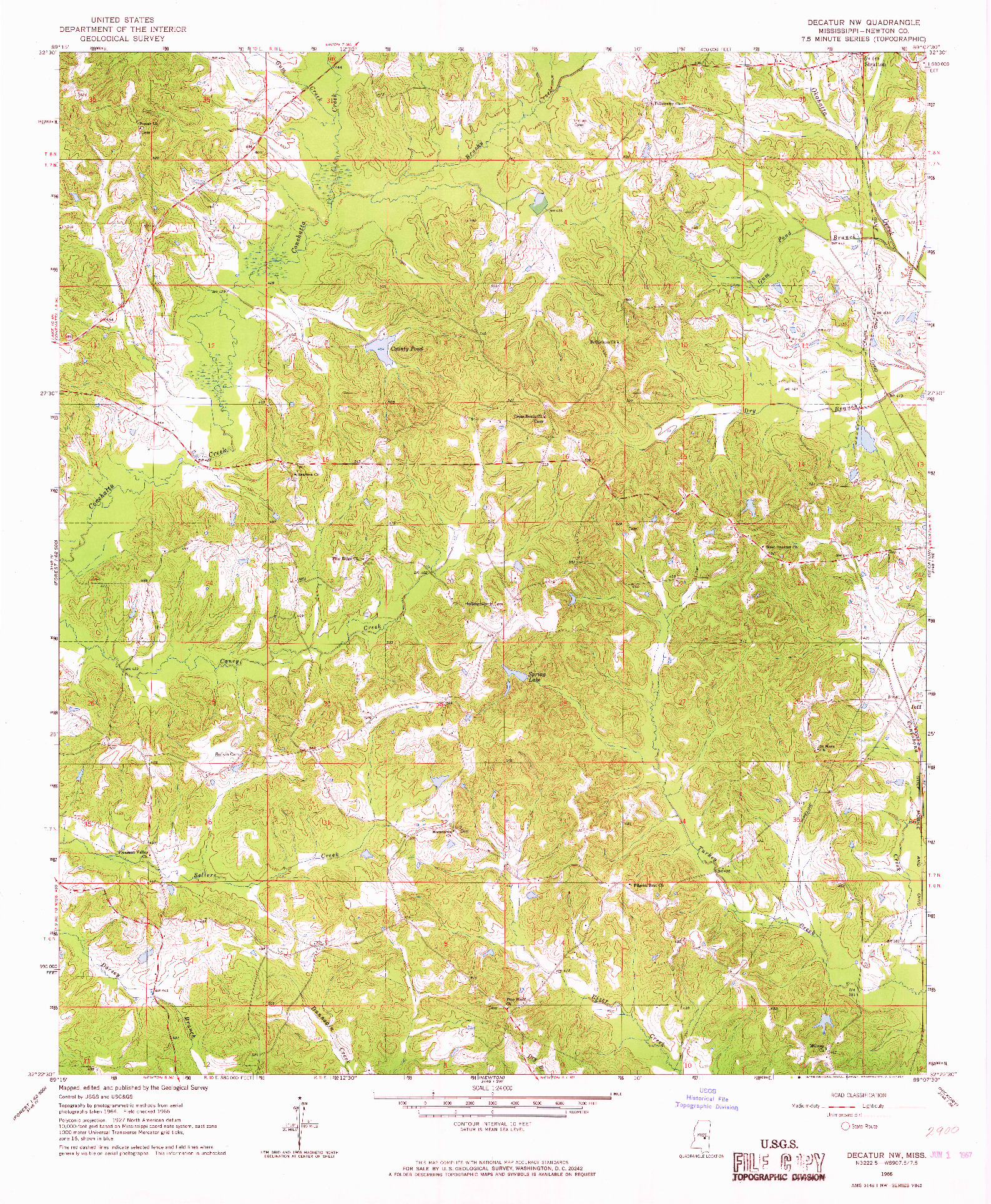 USGS 1:24000-SCALE QUADRANGLE FOR DECATUR NW, MS 1966
