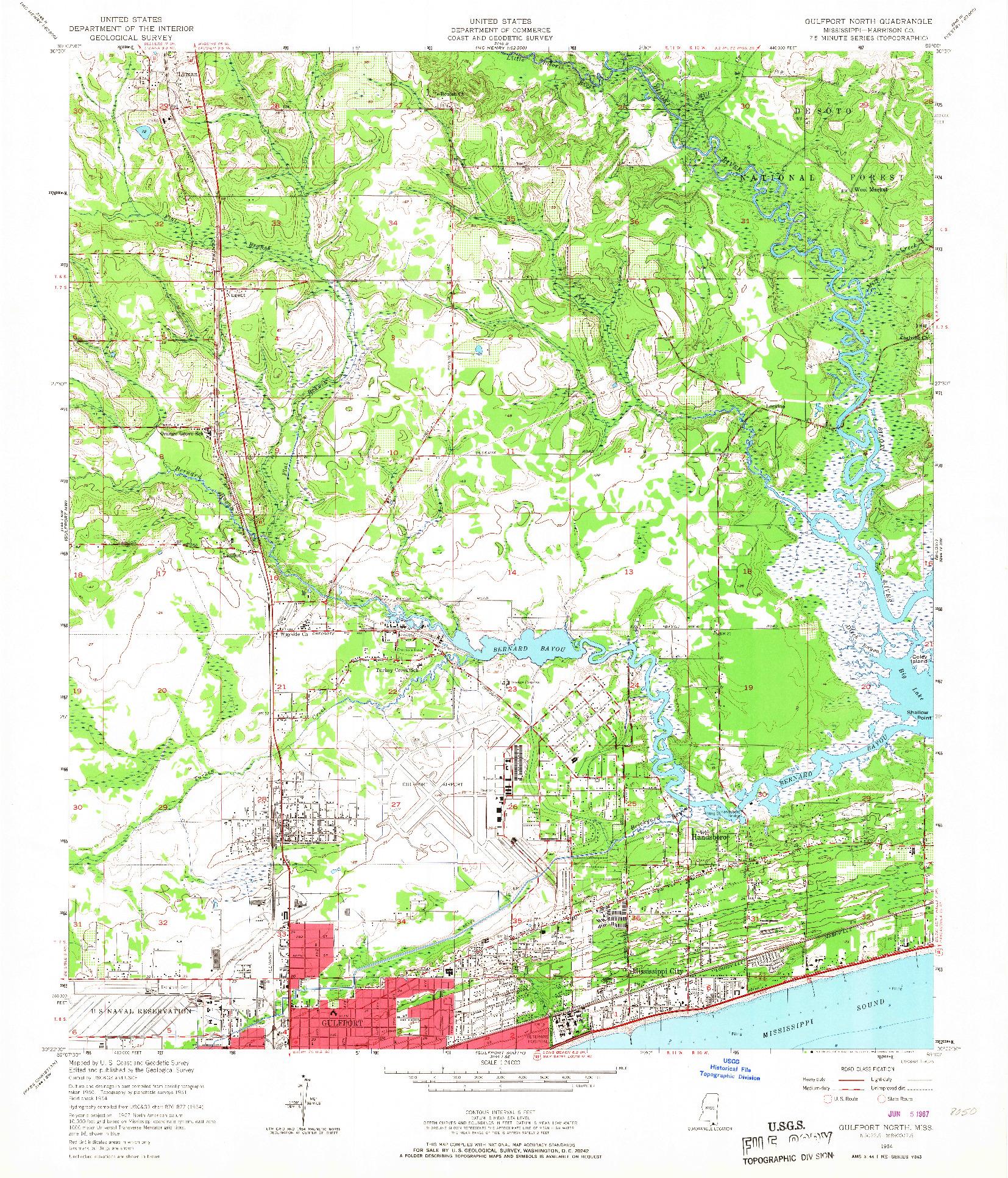 USGS 1:24000-SCALE QUADRANGLE FOR GULFPORT NORTH, MS 1954