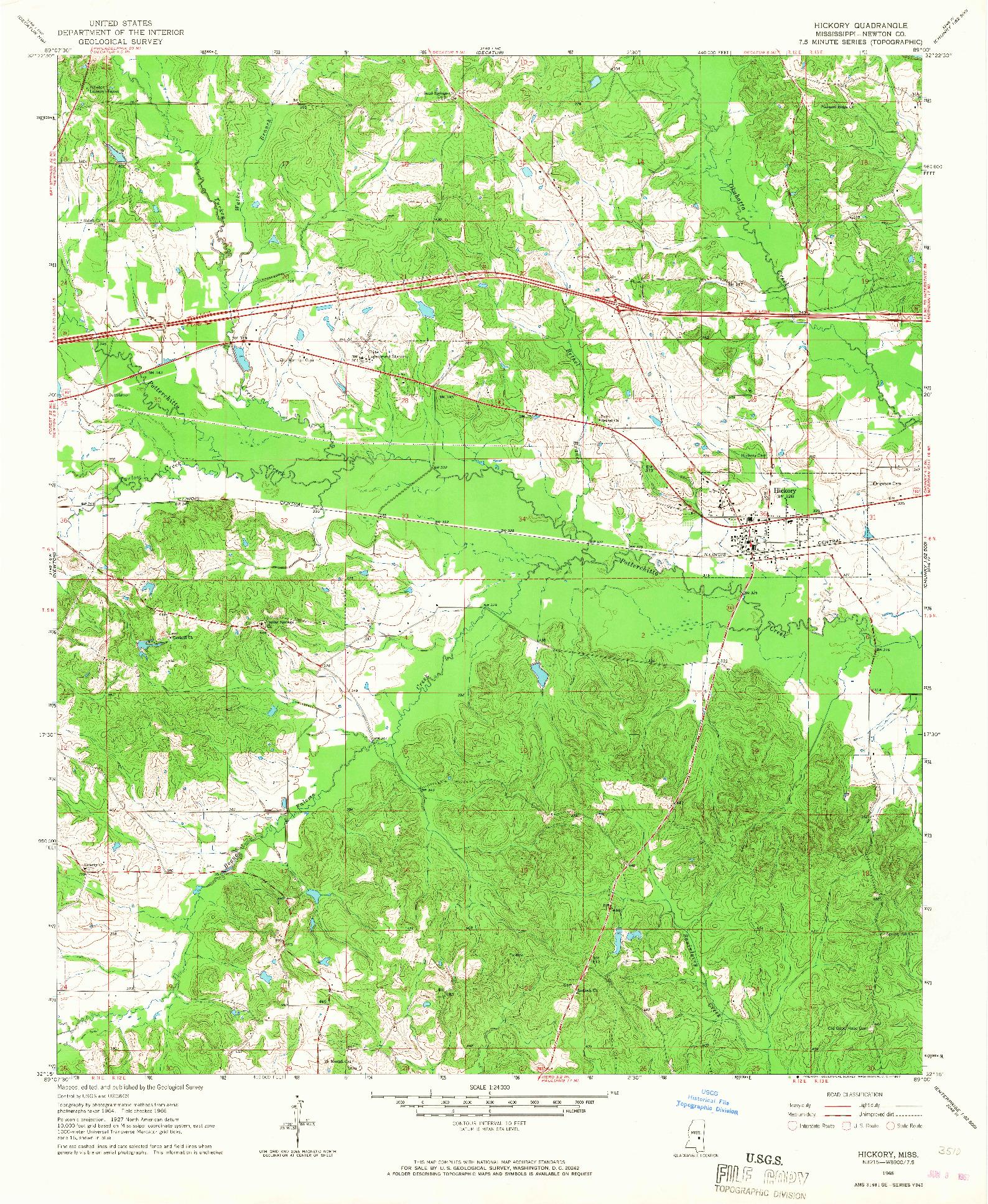 USGS 1:24000-SCALE QUADRANGLE FOR HICKORY, MS 1966