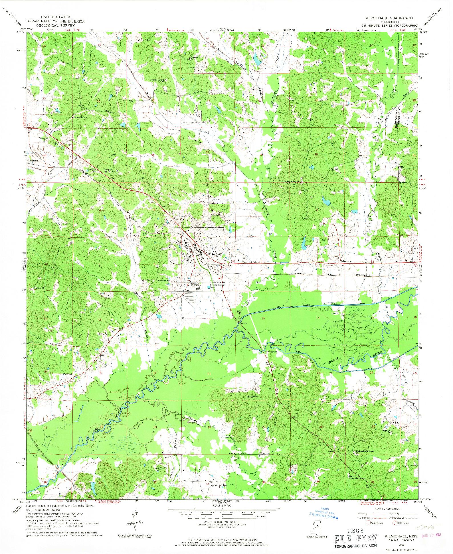 USGS 1:24000-SCALE QUADRANGLE FOR KILMICHAEL, MS 1966