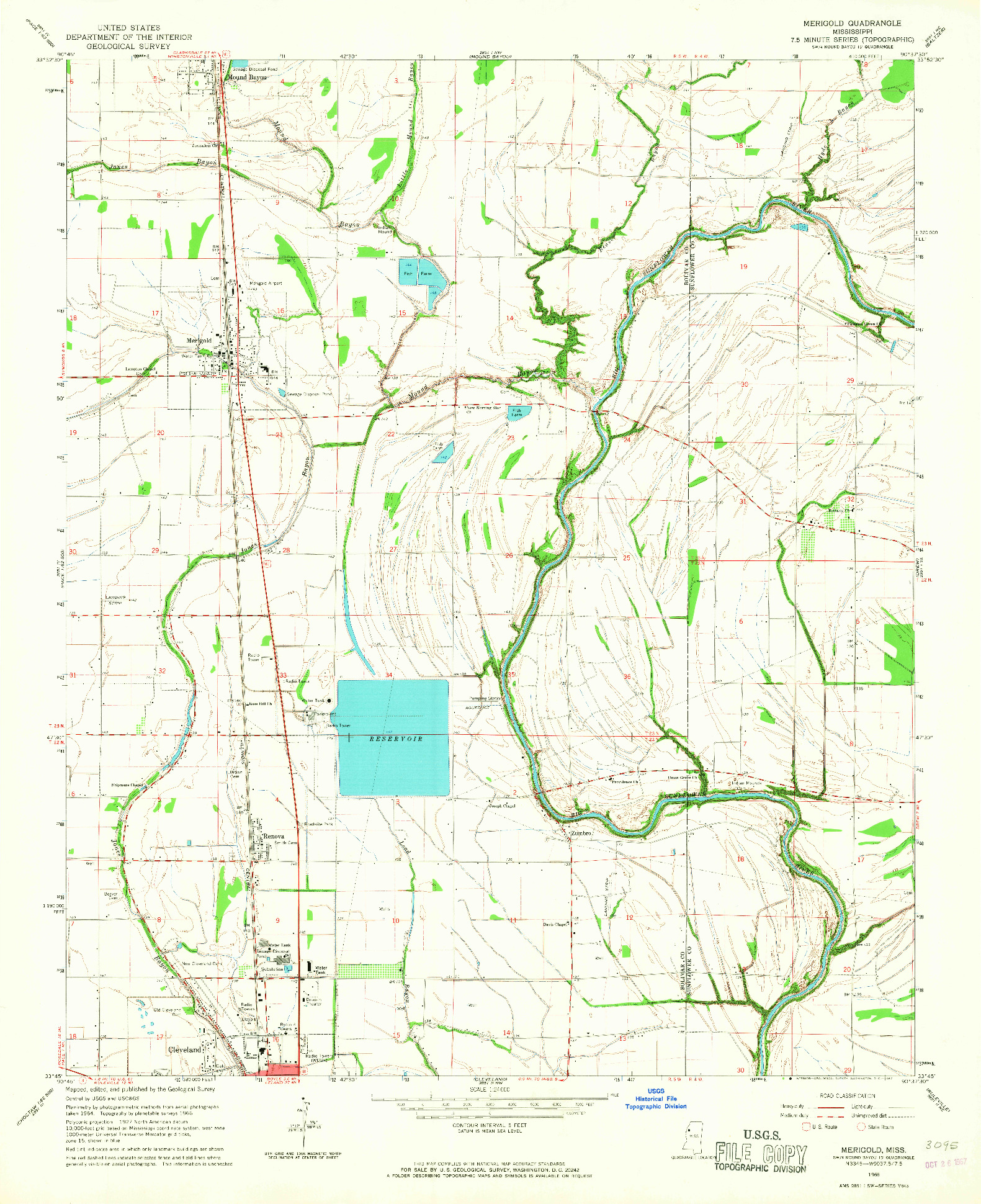 USGS 1:24000-SCALE QUADRANGLE FOR MERIGOLD, MS 1966