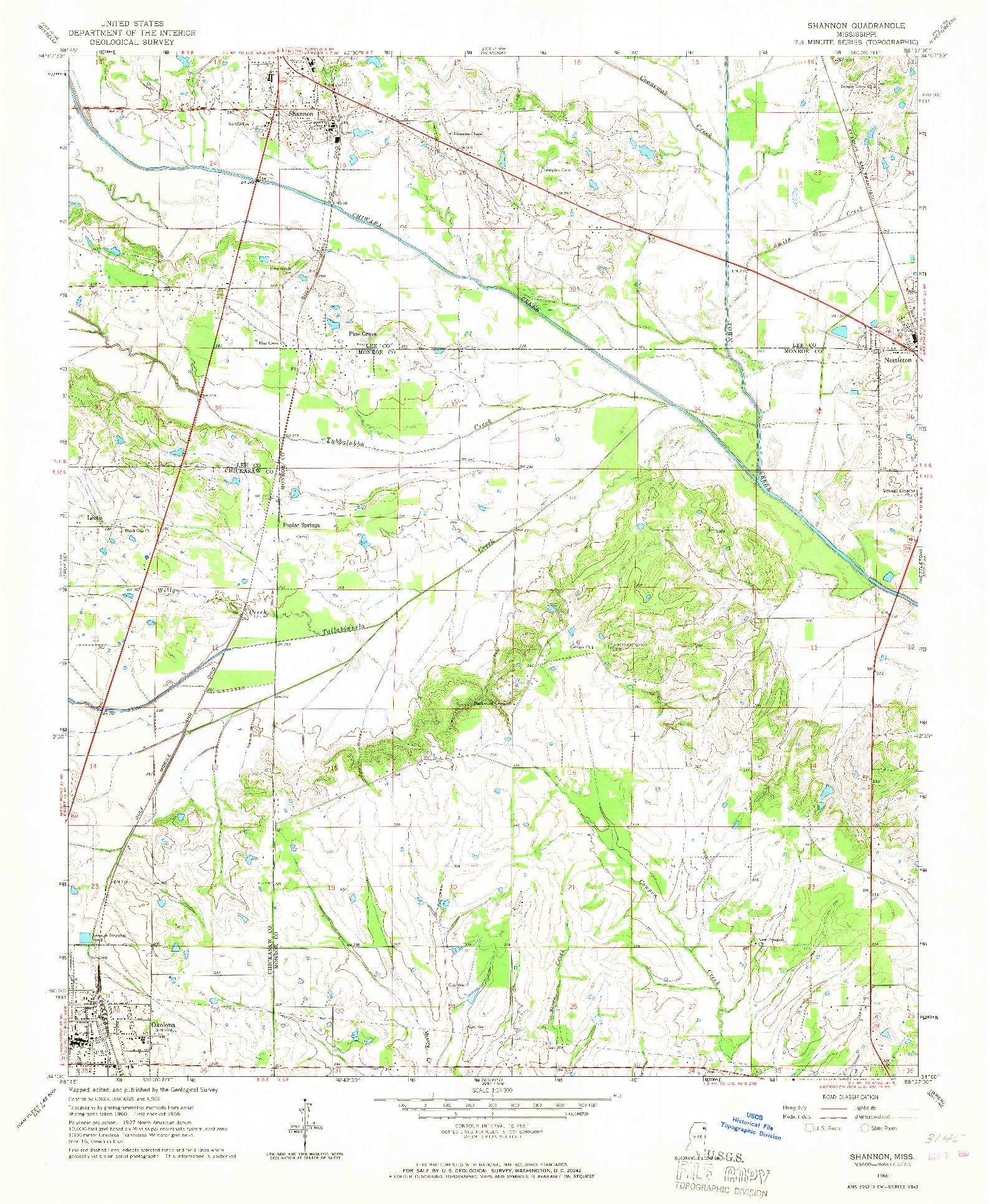 USGS 1:24000-SCALE QUADRANGLE FOR SHANNON, MS 1966
