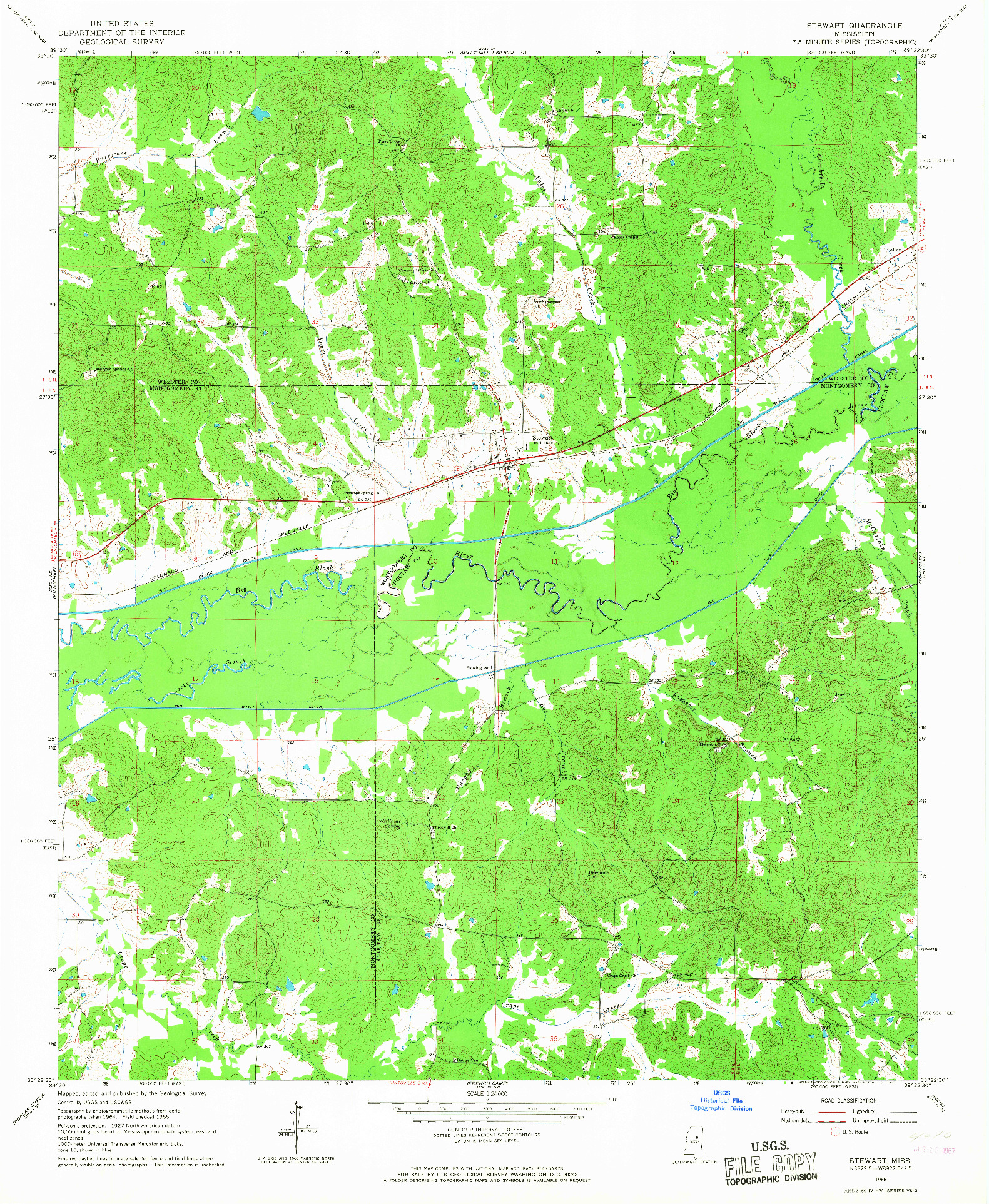 USGS 1:24000-SCALE QUADRANGLE FOR STEWART, MS 1966