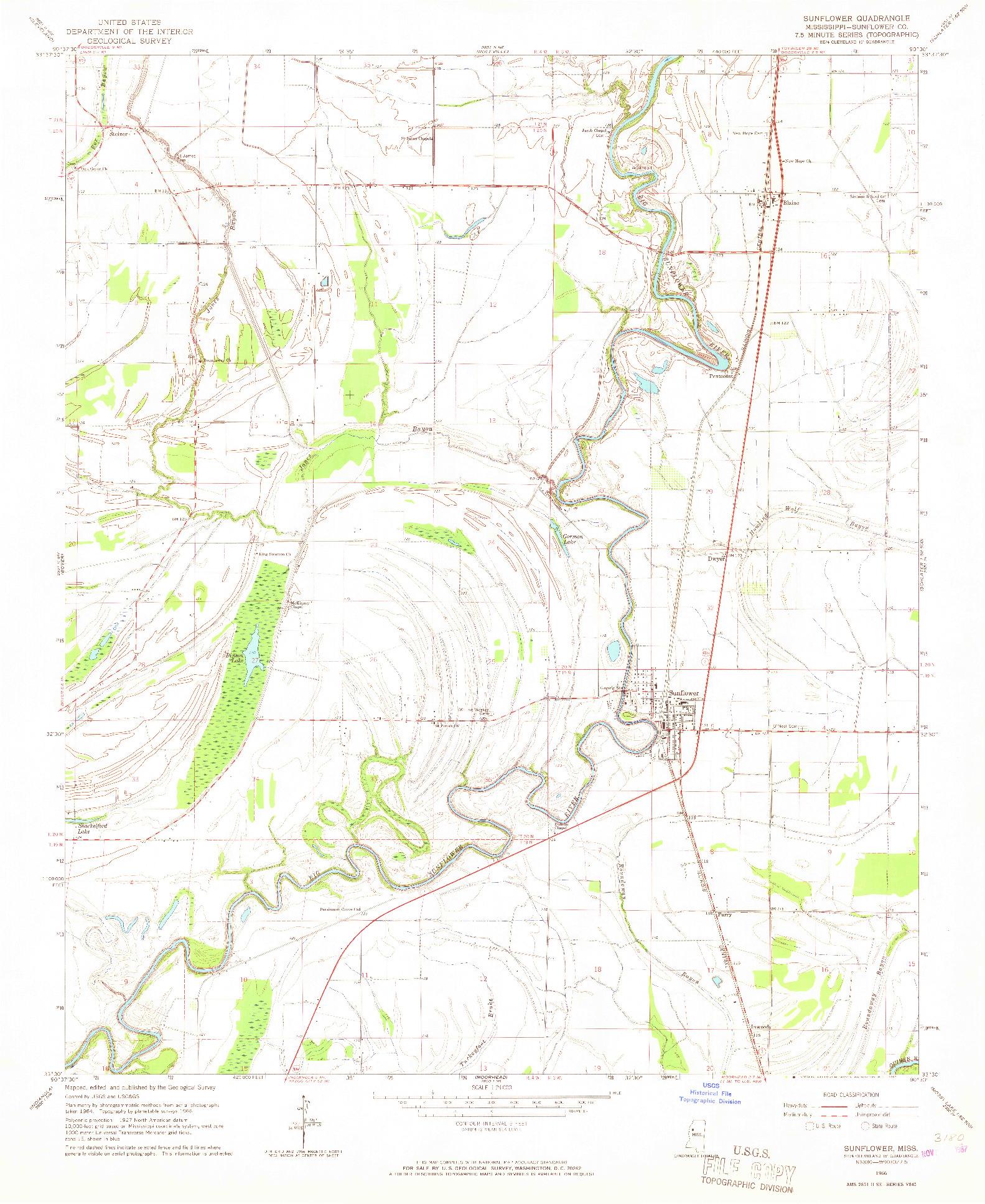 USGS 1:24000-SCALE QUADRANGLE FOR SUNFLOWER, MS 1966