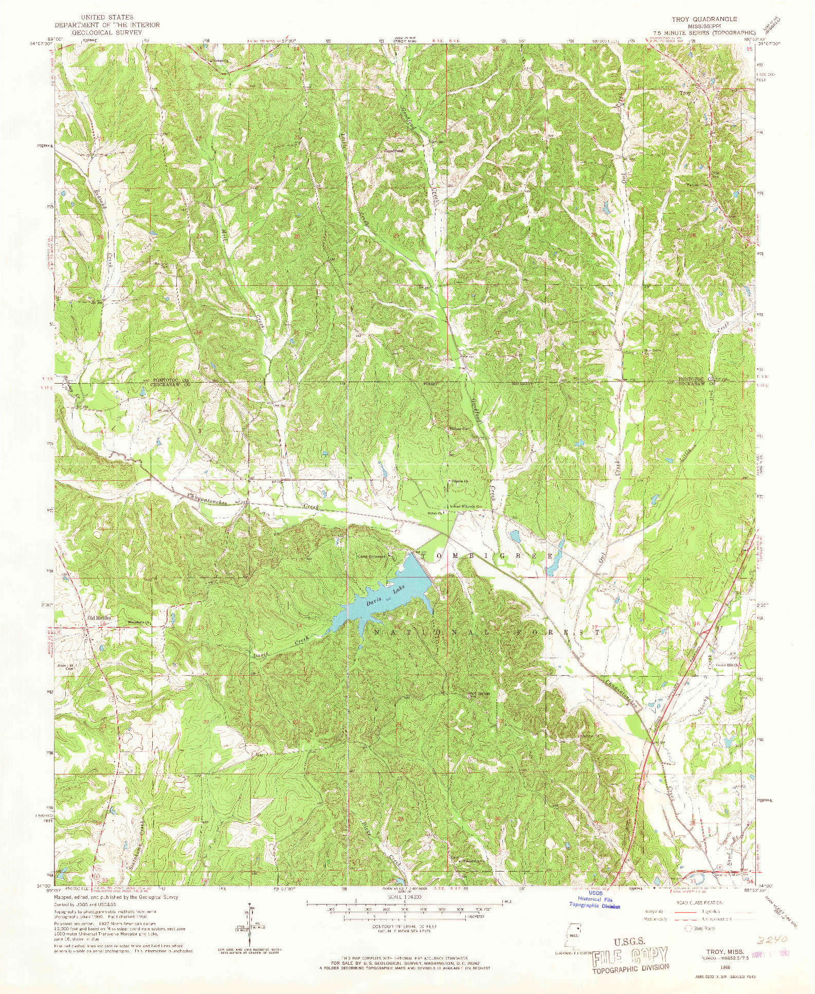 USGS 1:24000-SCALE QUADRANGLE FOR TROY, MS 1966