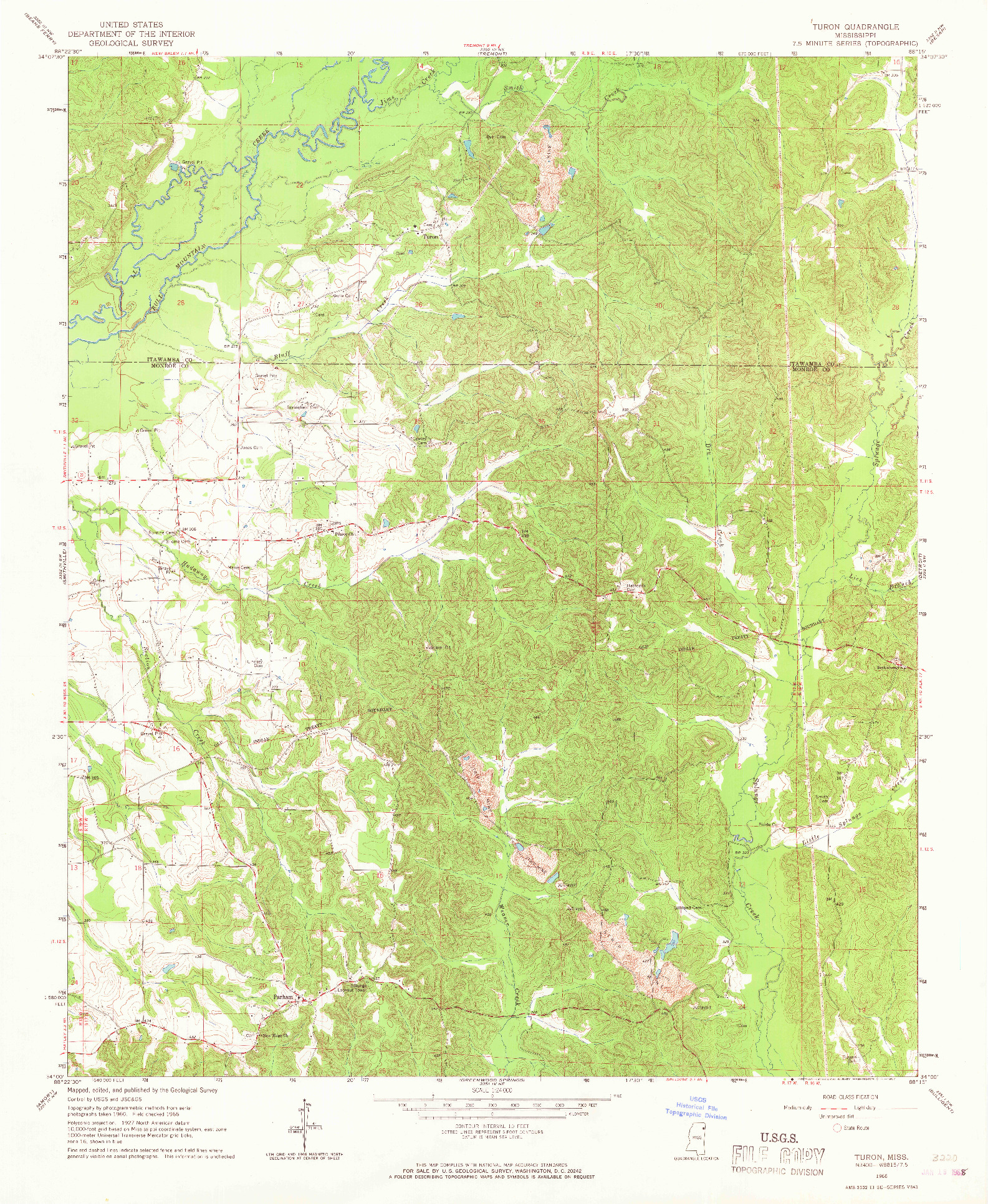 USGS 1:24000-SCALE QUADRANGLE FOR TURON, MS 1966